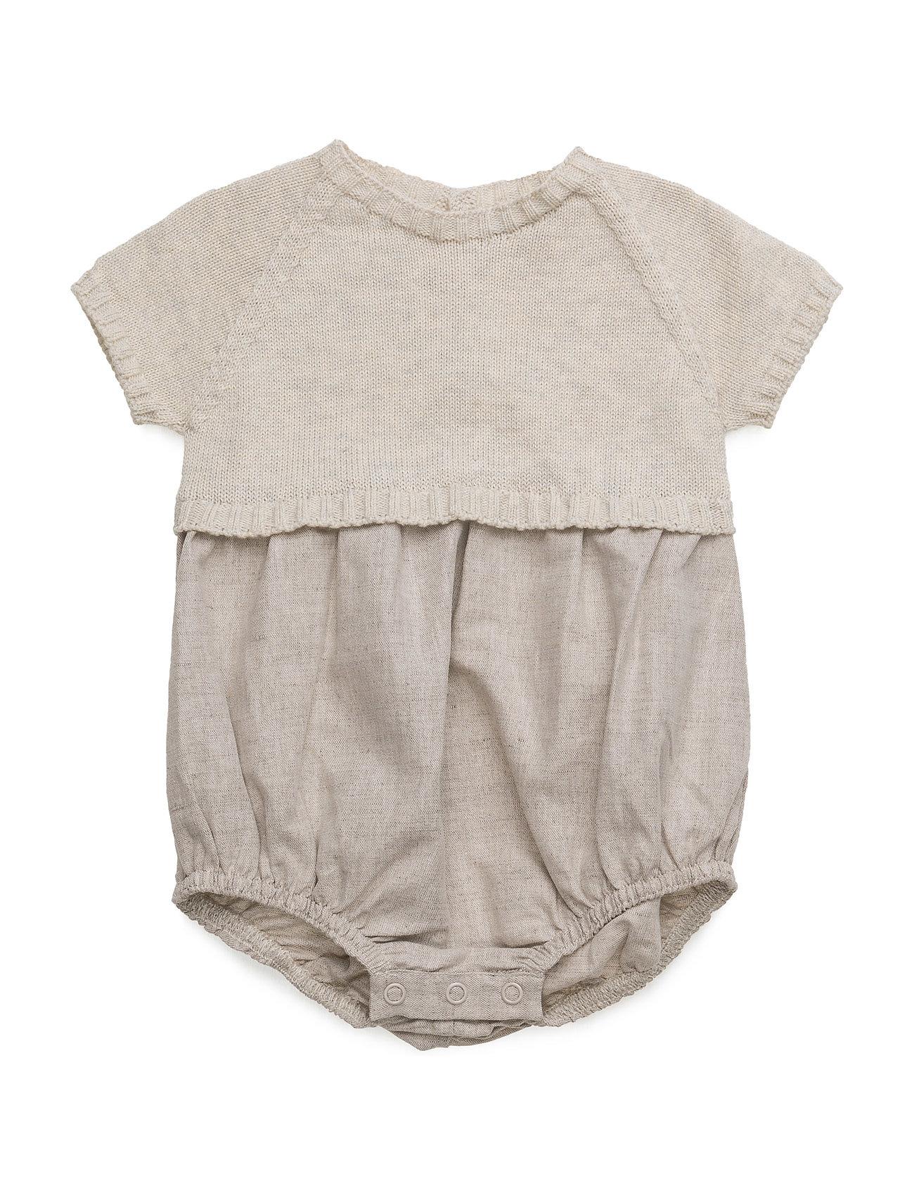 Contrast Linen-Blend Dungarees Mango Kids Langærmede bodies til Børn i Lt Pastel Grey