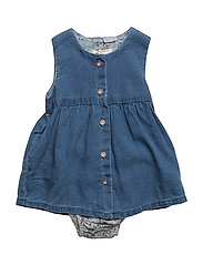 Contrasting denim dress - OPEN BLUE