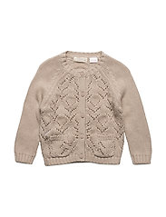 Openwork cotton cardigan - LT PASTEL BROWN