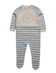 Striped cotton dungarees - MEDIUM GREY