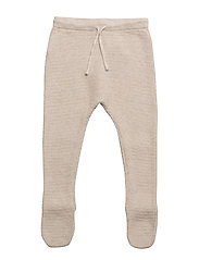 Cotton textured footed pants - LT PASTEL BROWN