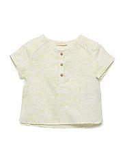 Mao collar linen shirt - WHITE