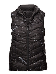 Printed quilted gilet - BLACK