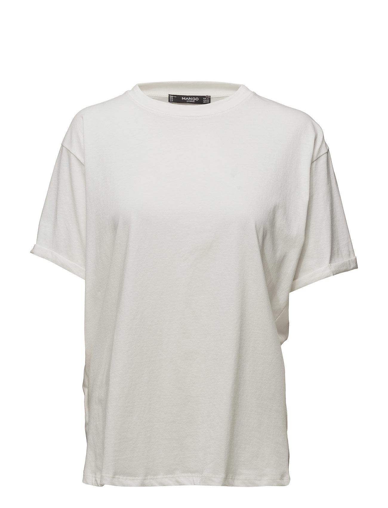 Oversize Cotton T-Shirt Mango Kortærmede til Damer i hvid