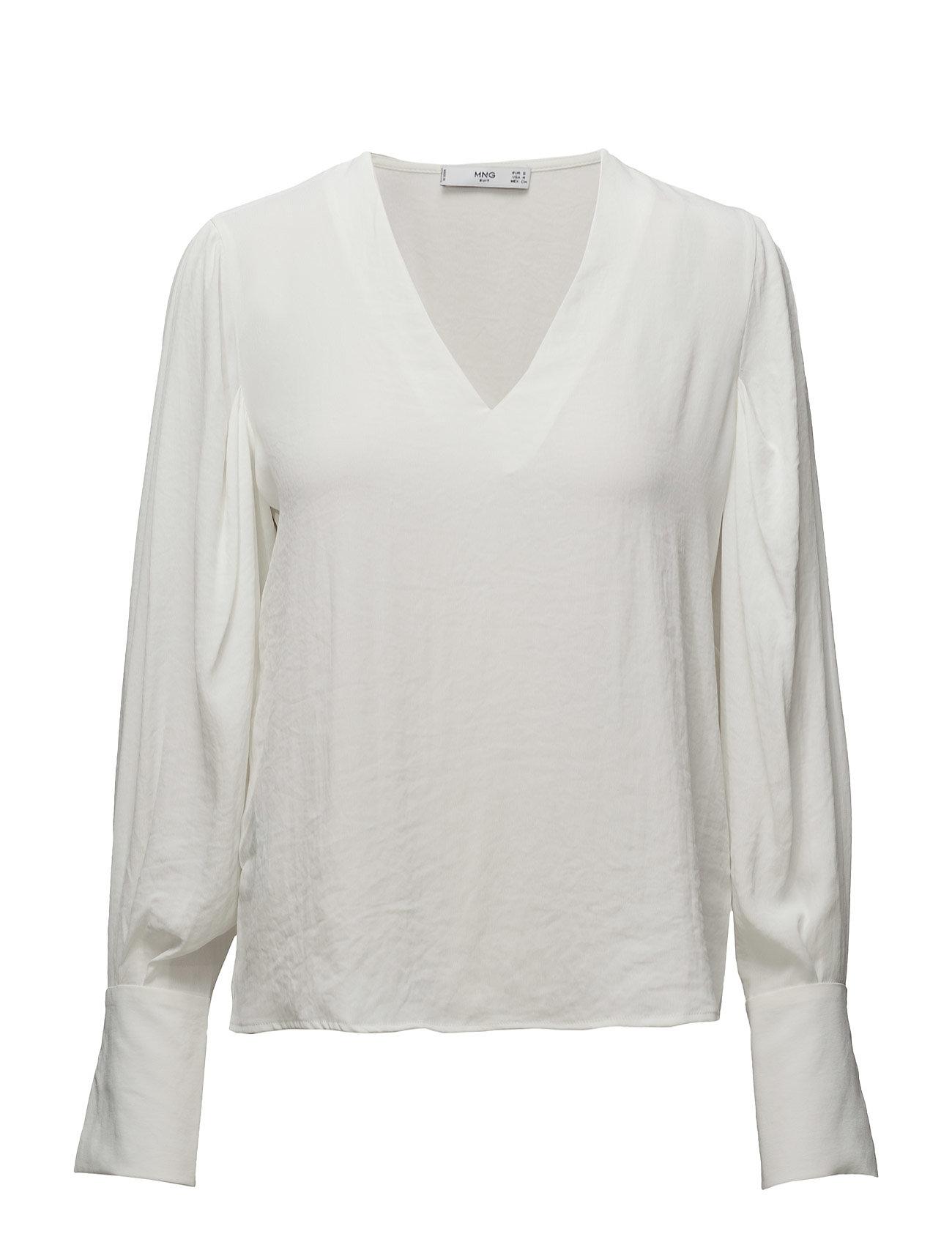 Puffed Sleeves Blouse Mango Langærmede til Damer i Natural White