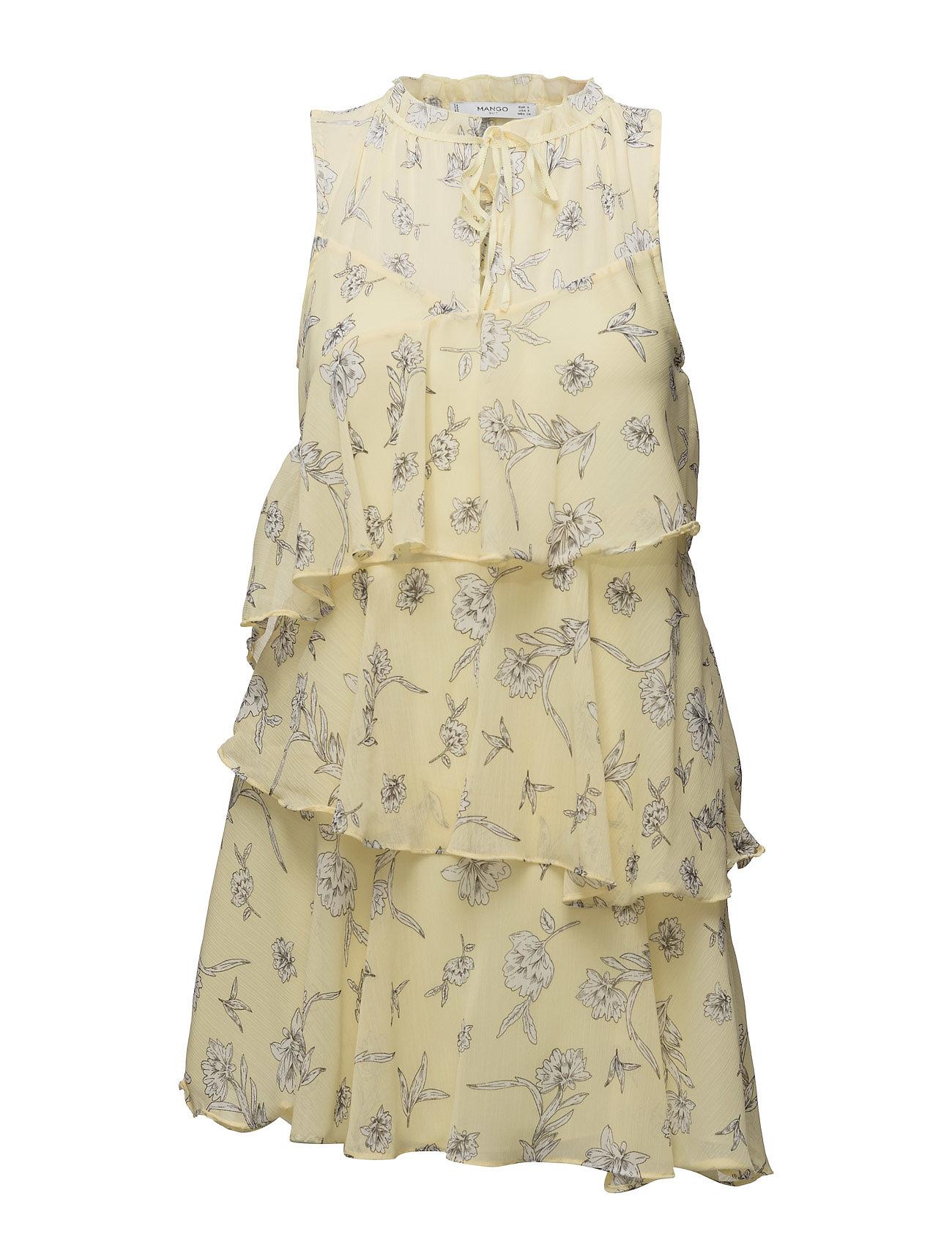 Ruffled Printed Dress Mango Kjoler til Kvinder i Gul