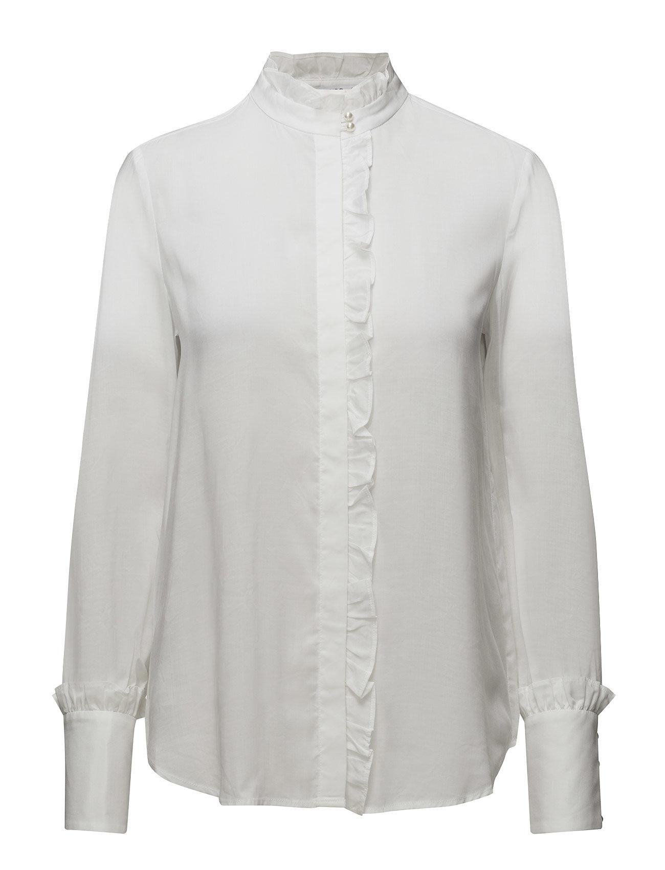 Striped Mao Collar Shirt Mango Langærmede til Damer i hvid