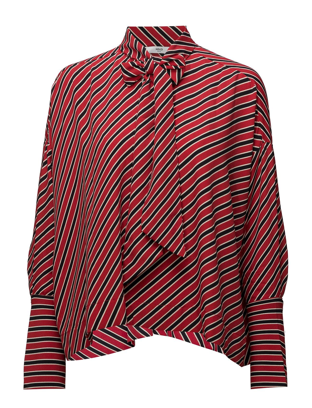 Striped Bow Blouse Mango Langærmede til Damer i Rød