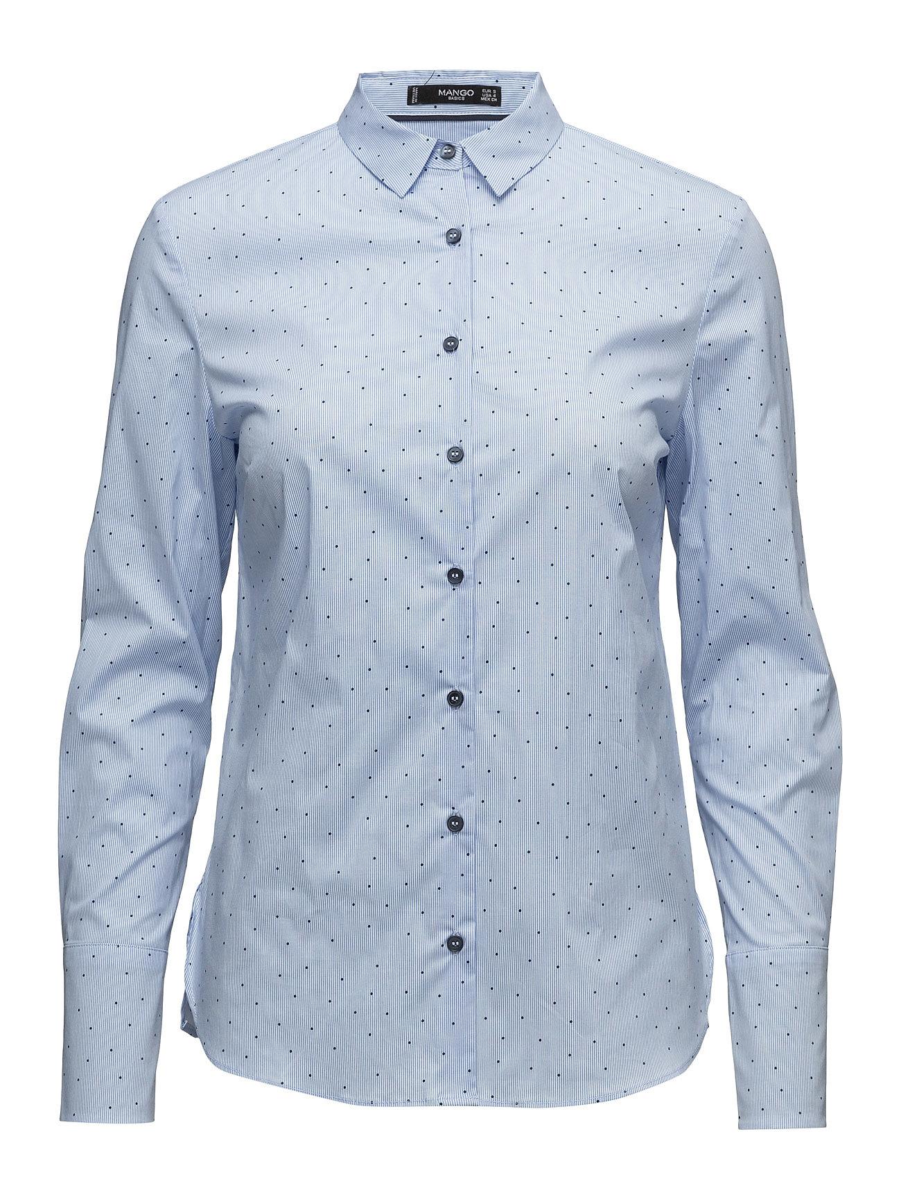Printed Cotton Shirt Mango Langærmede til Damer i Medium Blå