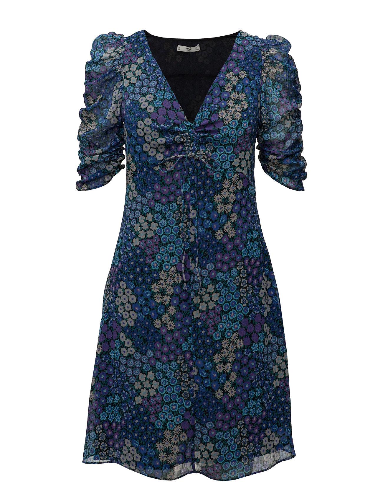 Blå Print Korte Dress Til I Kjoler Floral Damer Mango Medium zq4Tdp