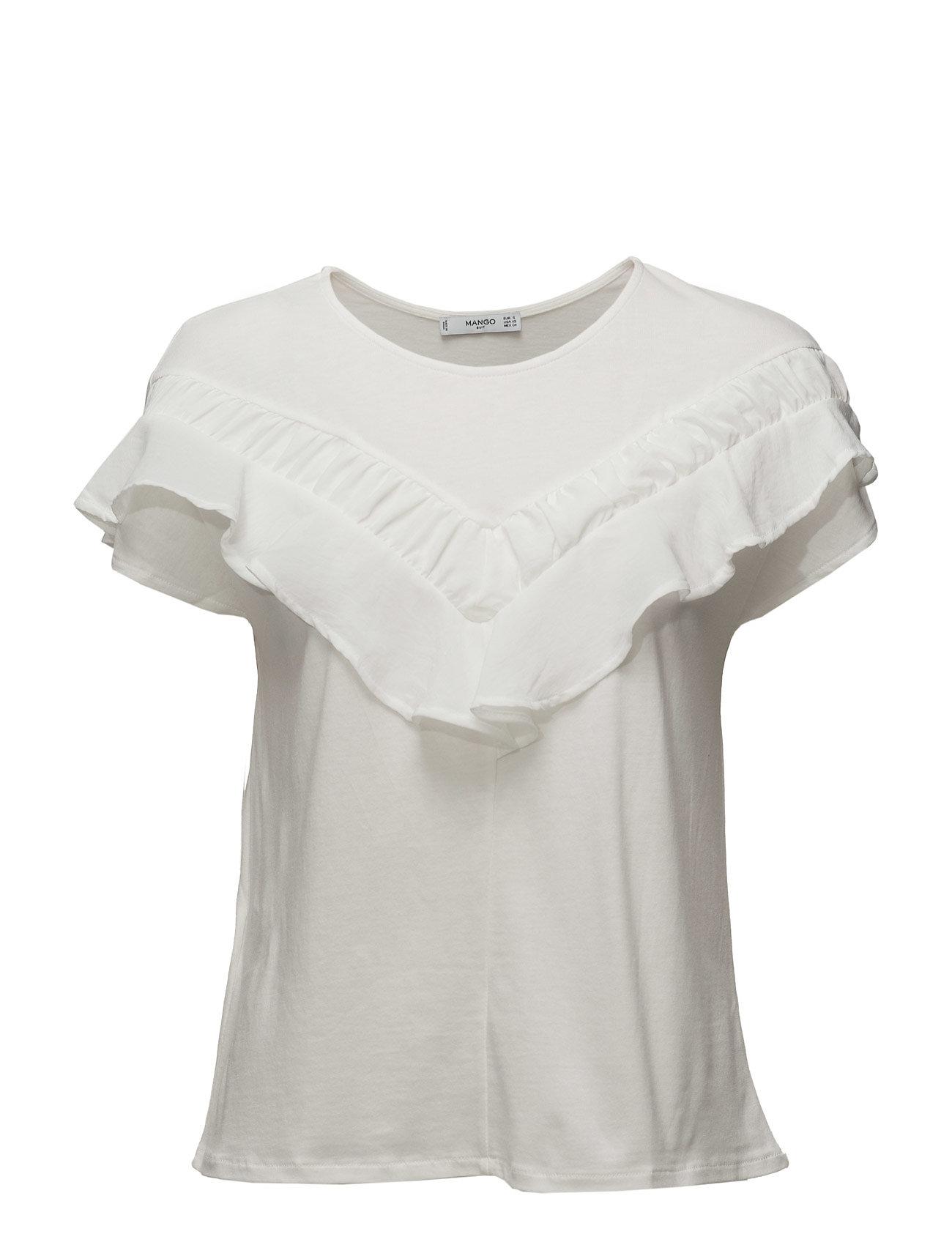 Ruffle Cotton T-Shirt Mango Kortærmede til Damer i Natural White