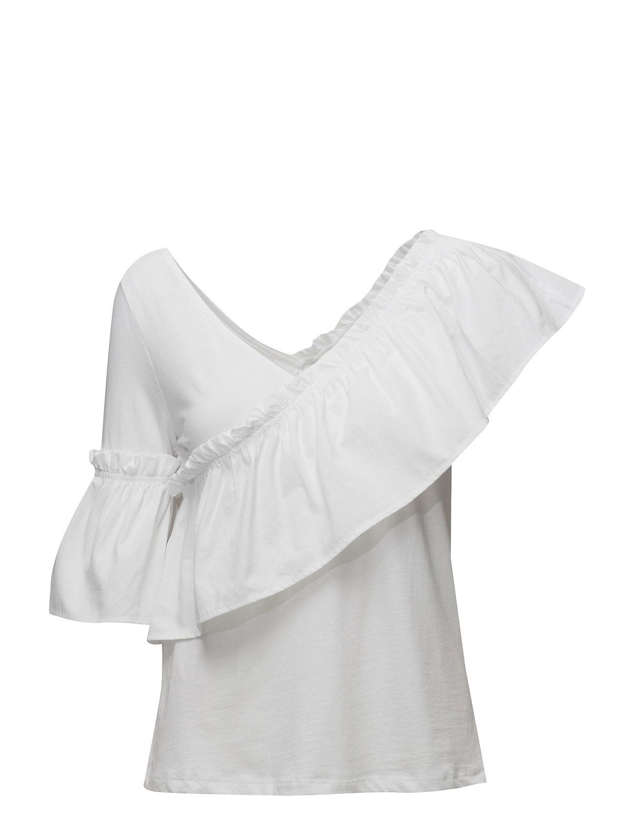 Ruffled Asymmetric T-Shirt Mango Bluser til Kvinder i Natural White