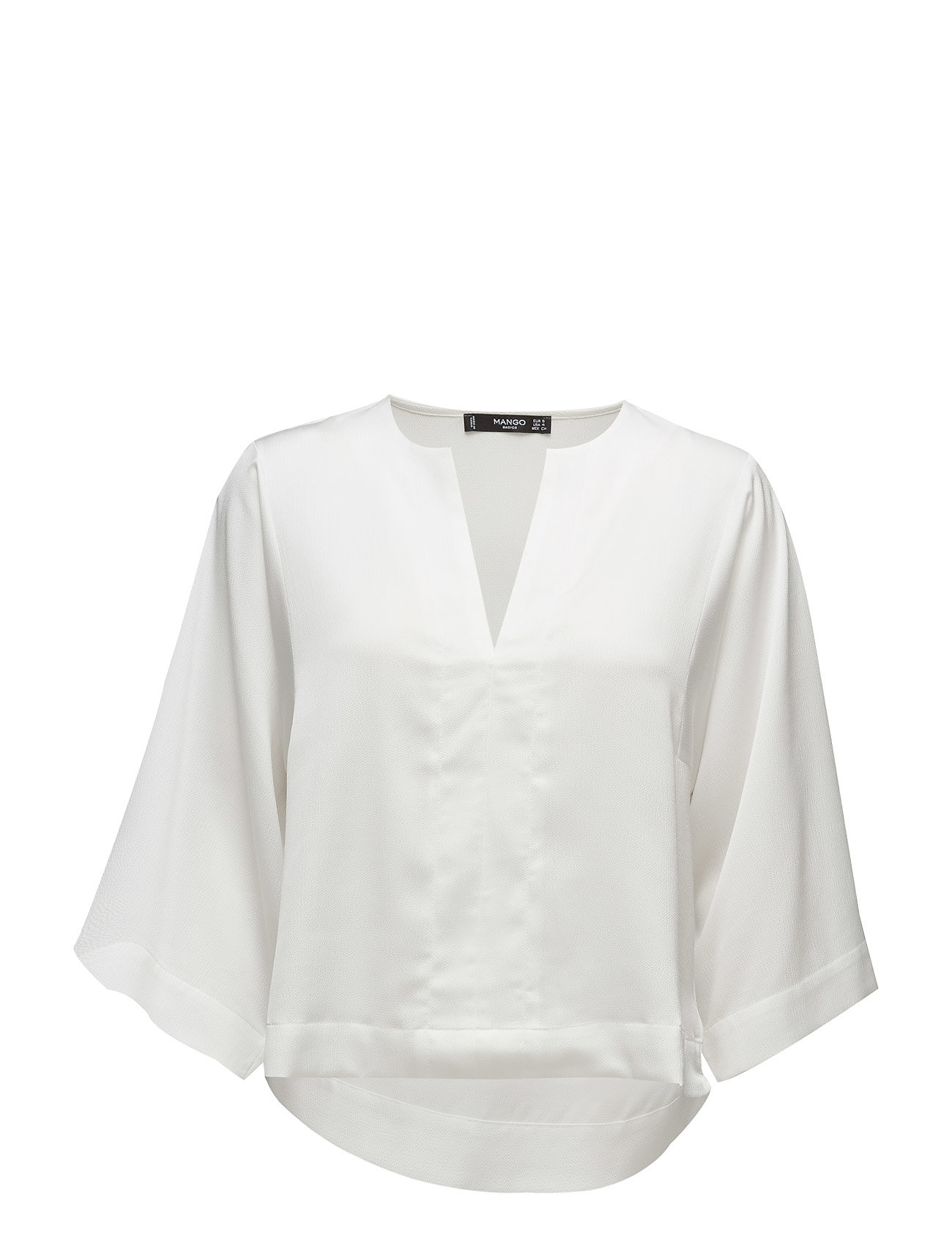 Flowy Textured Blouse Mango Langærmede til Damer i Natural White