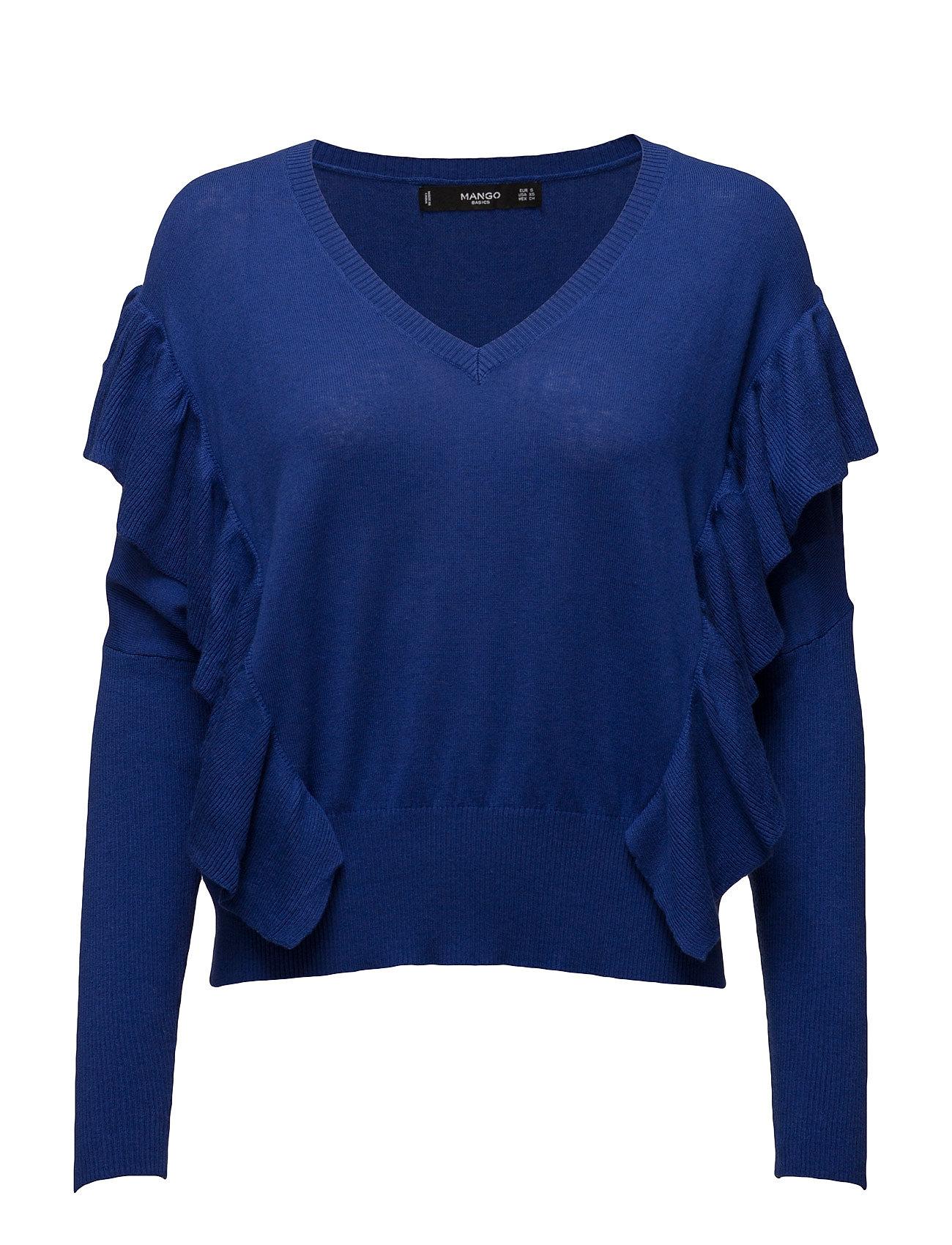 Ruffled Cotton Sweater Mango Sweatshirts til Damer i Bright blå