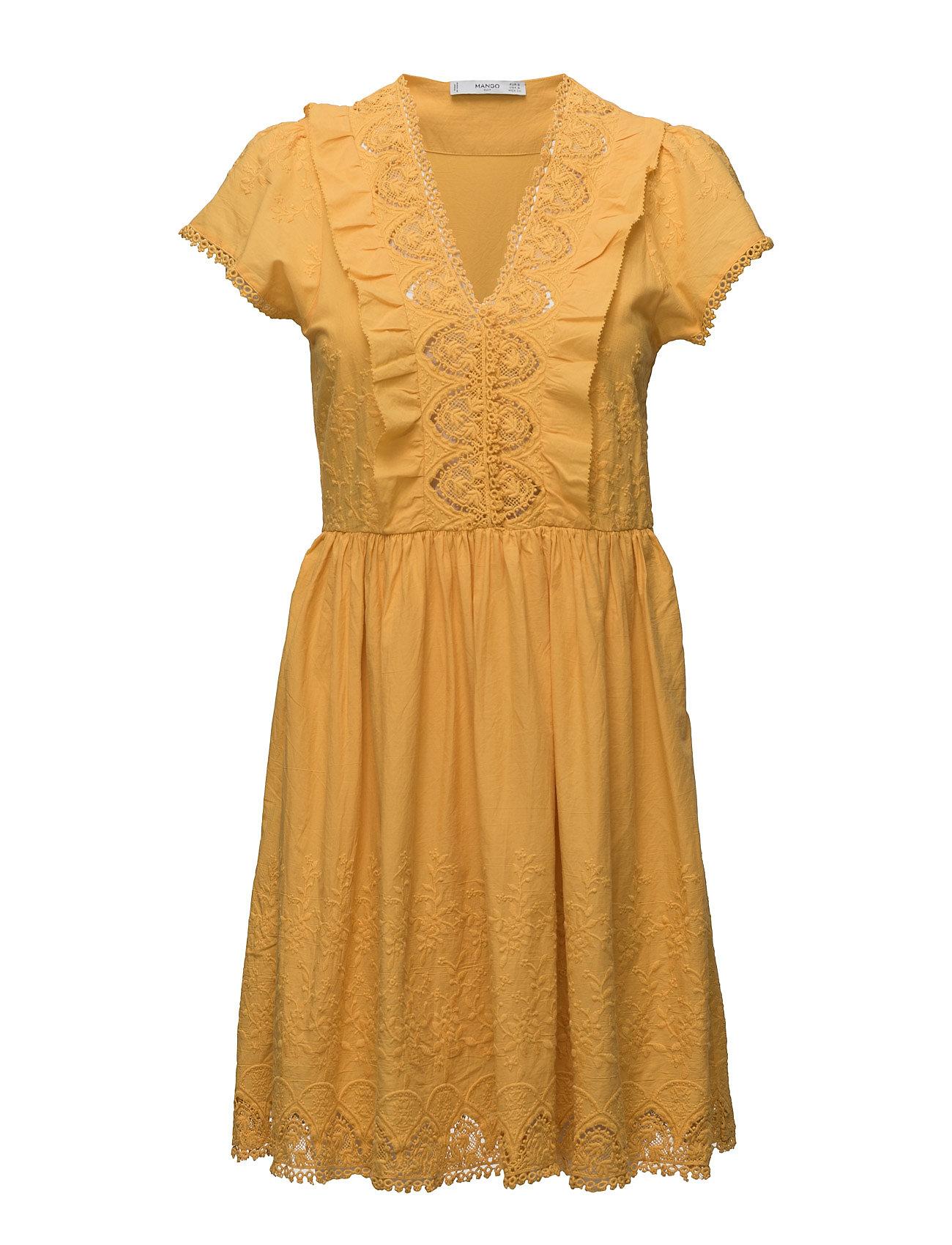 Embroidered Panel Dress Mango Kjoler til Kvinder i medium Yellow