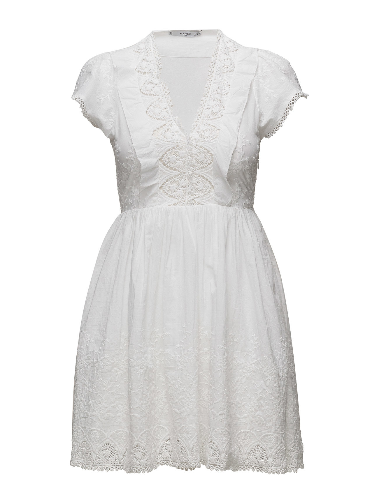 Til Panel Mango Damer Kjoler Korte Hvid Dress Embroidered I qwXzdE4Y