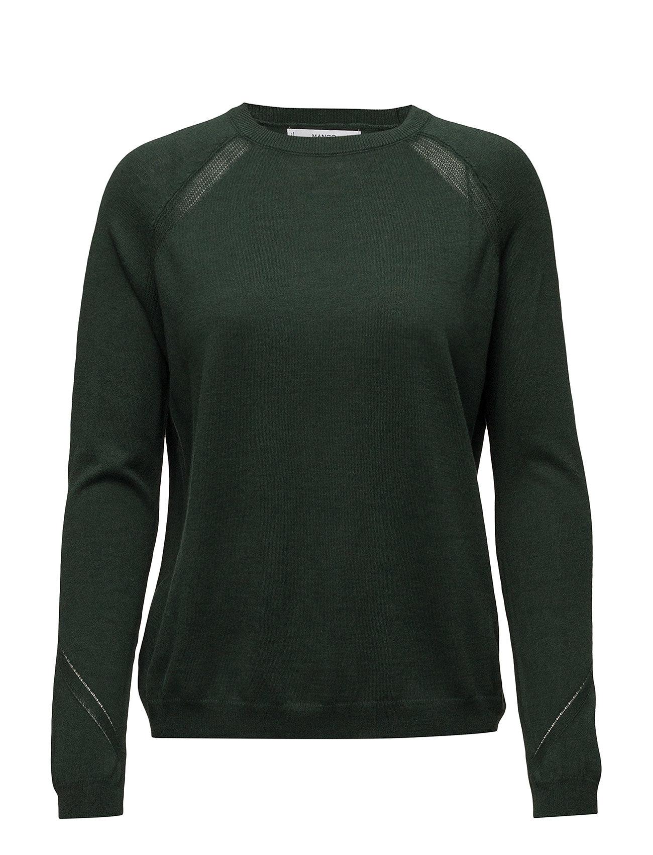 Decorative Seams Cotton Sweater Mango Sweatshirts til Damer i Mørkegrøn