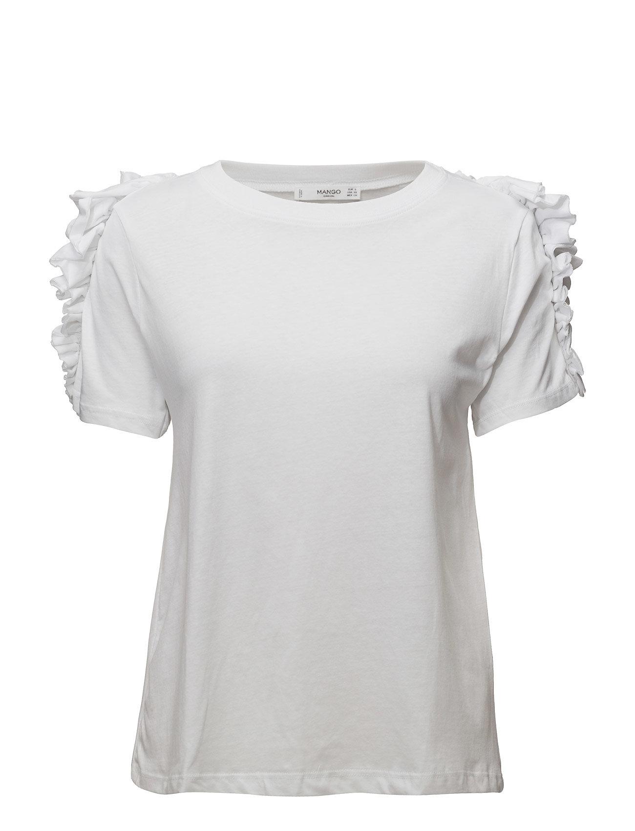 Ruffles Ruched T-Shirt Mango Kortærmede til Damer i hvid