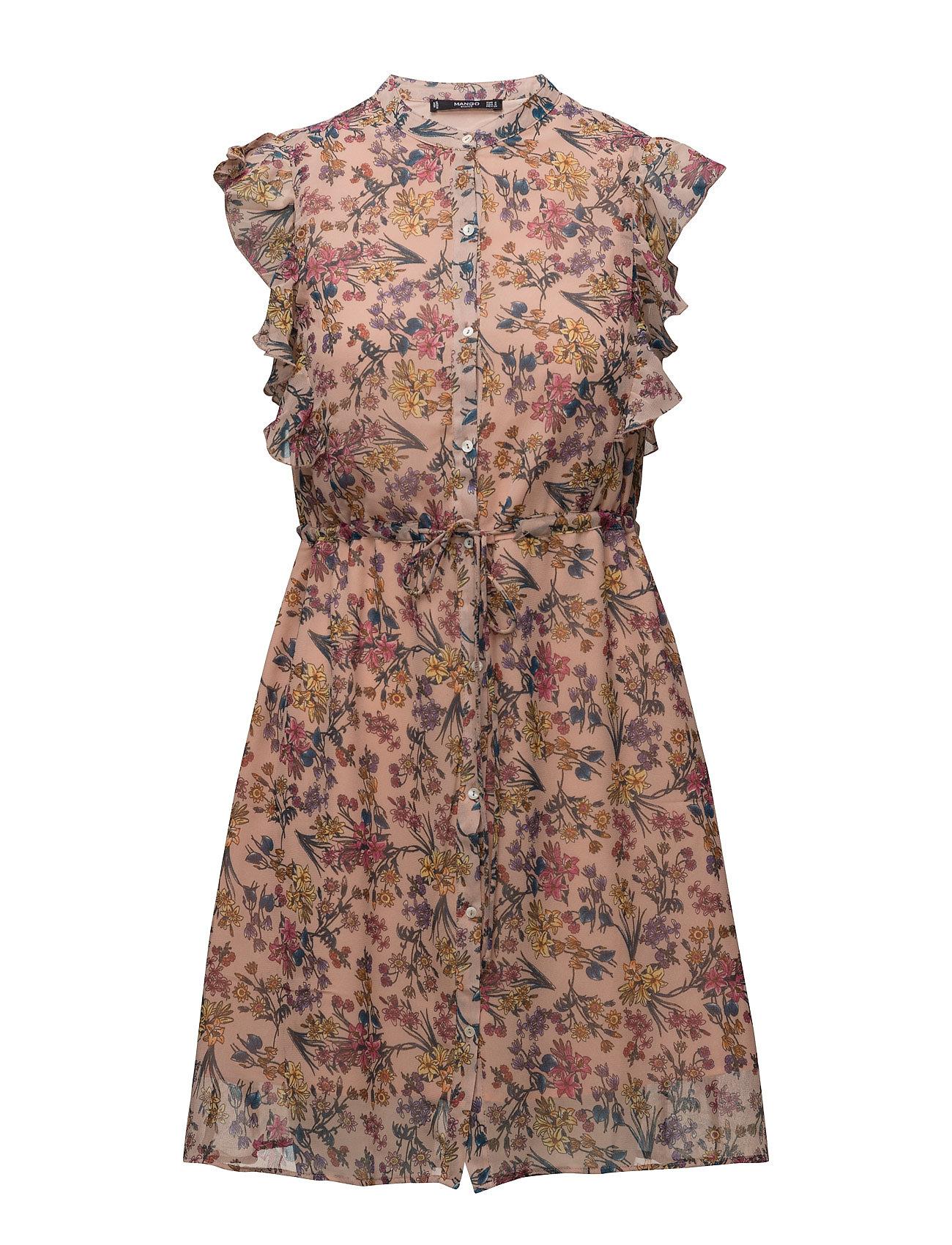 Ruffled Chiffon Dress Mango Korte kjoler til Damer i Lyserød