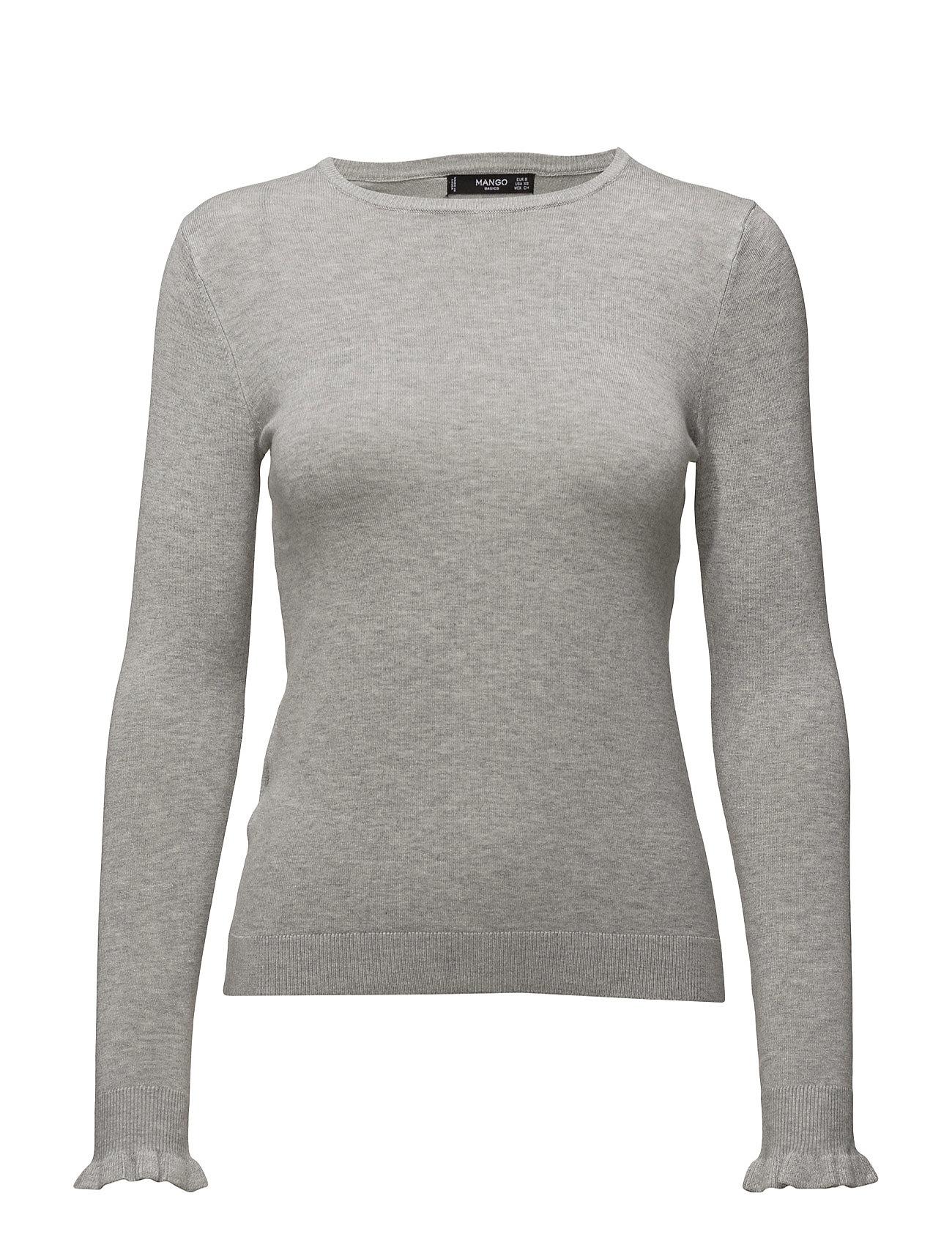 Ruffled Detail Sweater Mango Sweatshirts til Damer i Lt Pastel Grey