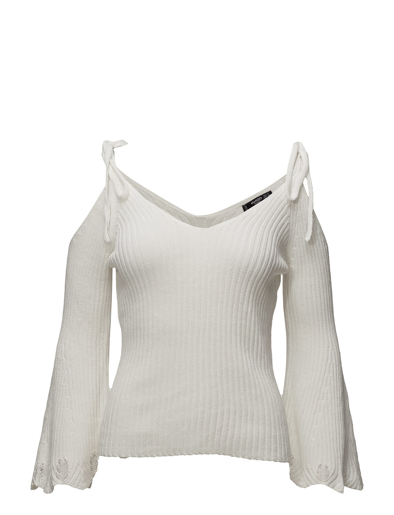 Flared Sleeve Ribbed Jumper Mango Sweatshirts til Damer i Light Beige
