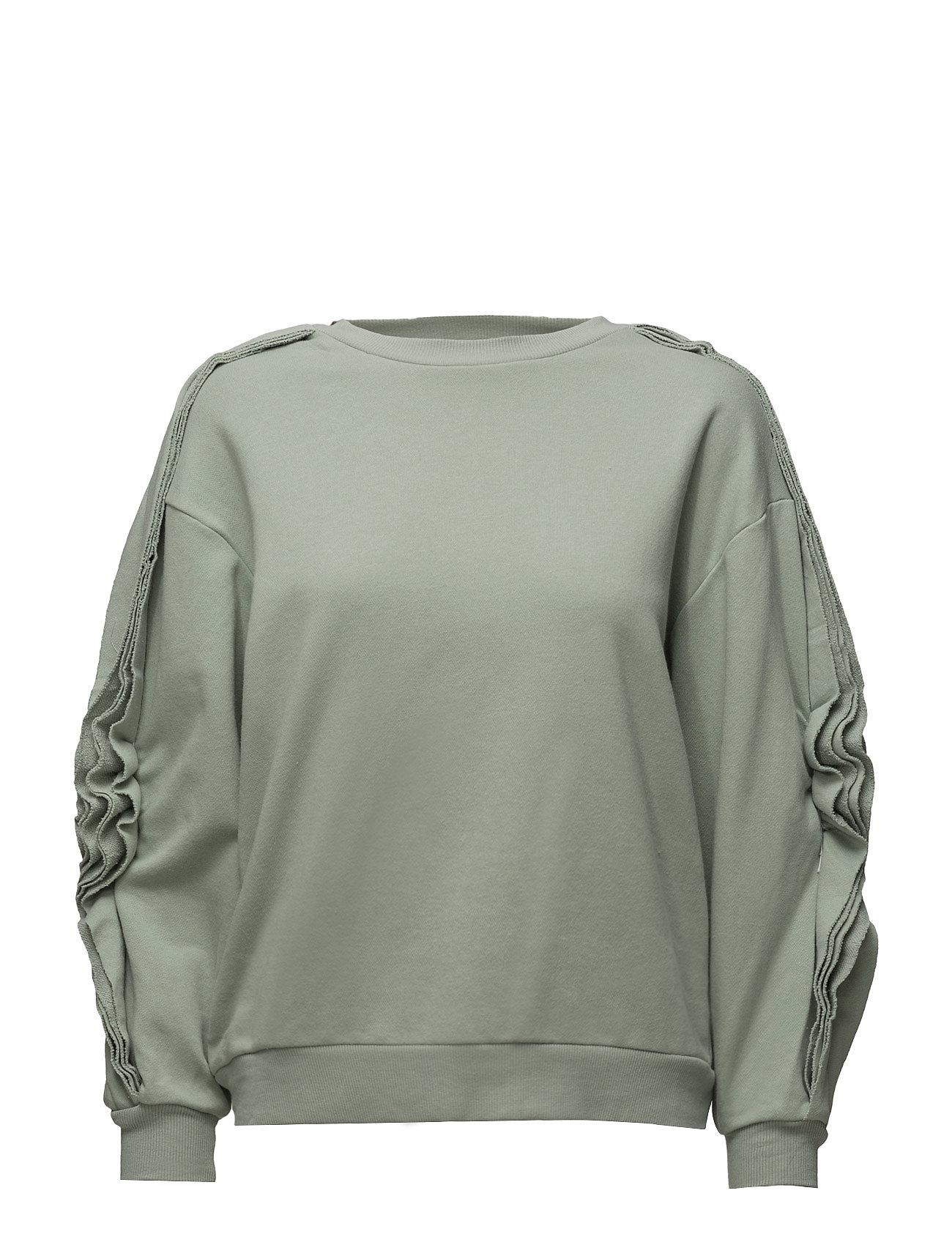 Ruffled Sleeves Sweatshirt Mango  til Damer i Grøn
