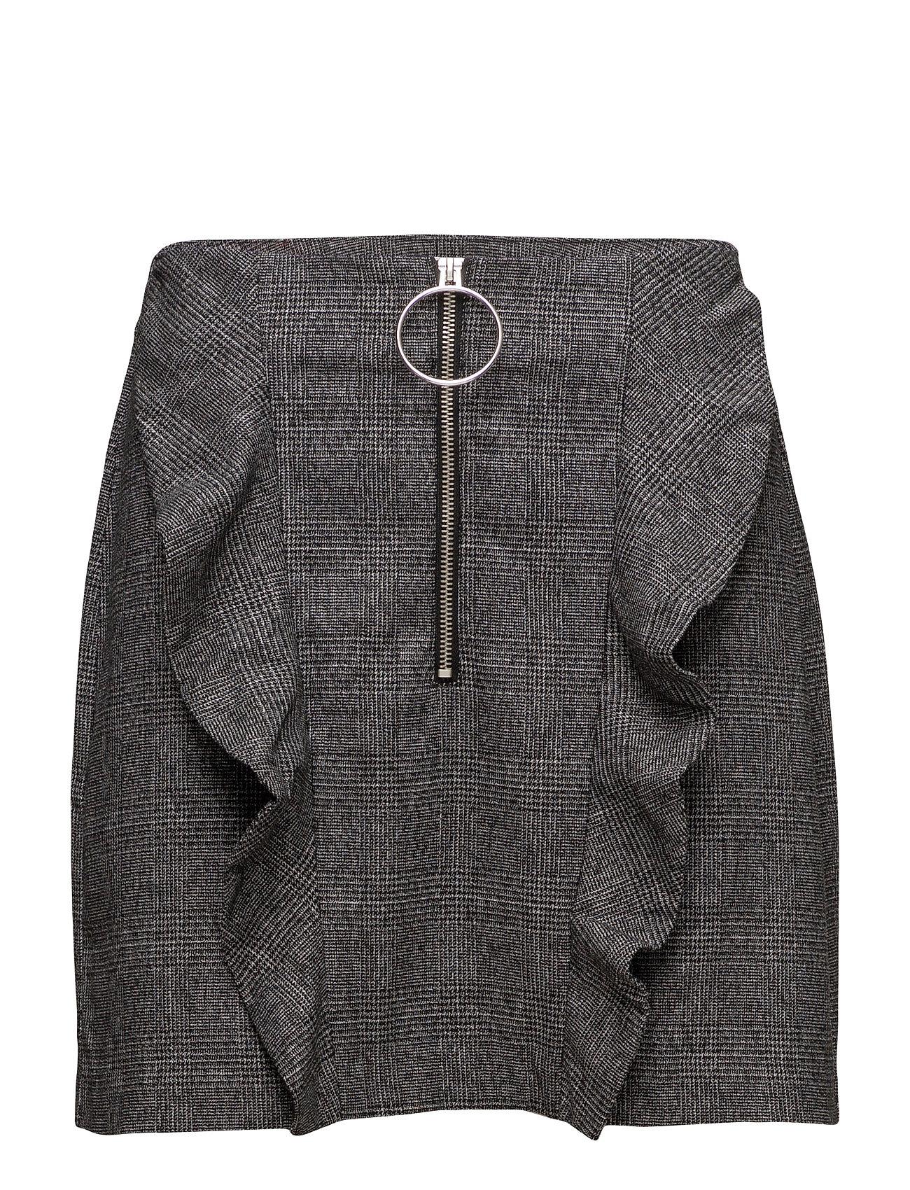 Check Pattern Ruffled Skirt Mango Korte til Damer i Sort
