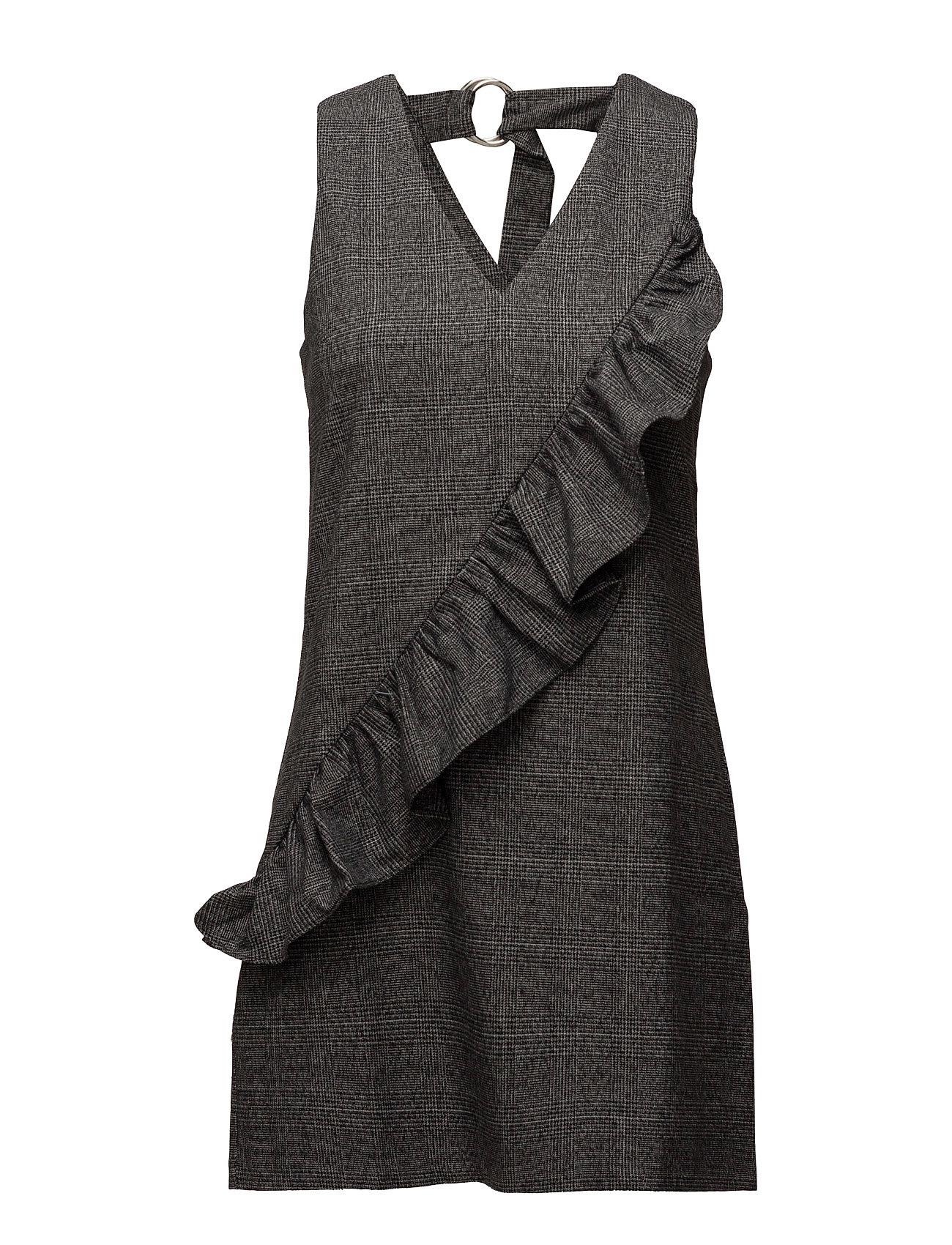 Ruffled Checkered Pinafore Dress Mango Korte kjoler til Damer i Sort