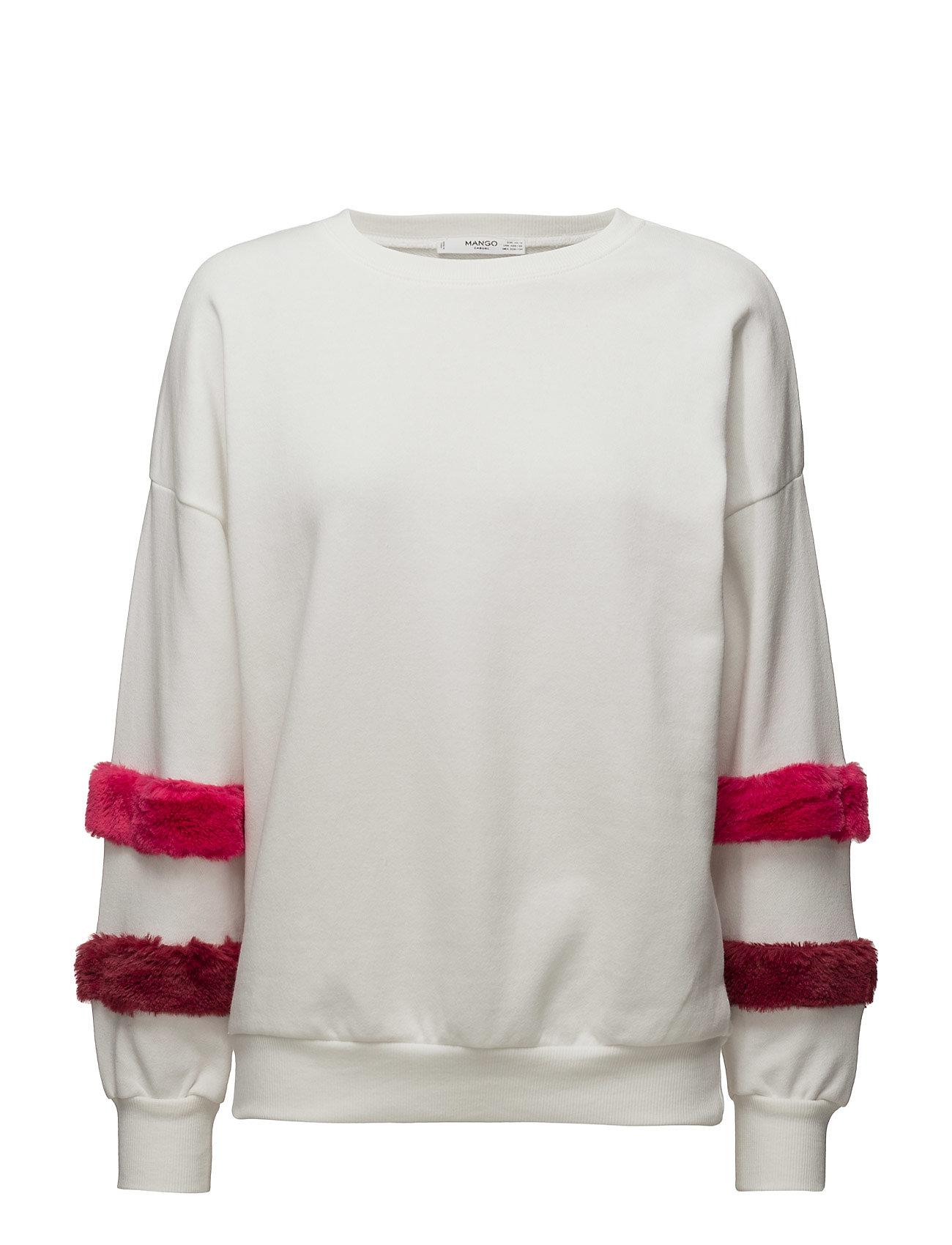 Fur Sleeves Sweatshirt Mango Langærmede til Damer i Natural White