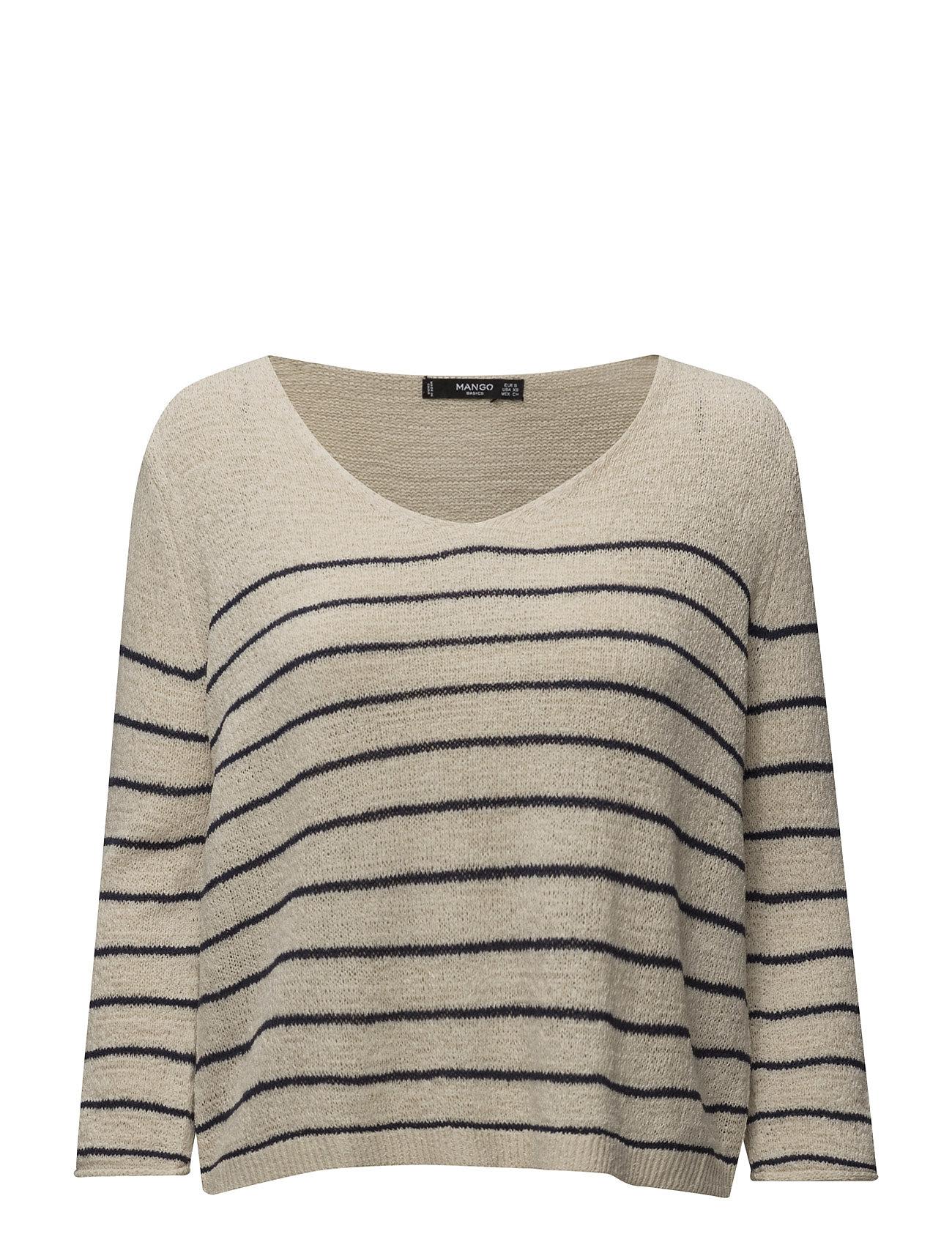 Stripe Textured Sweater Mango Striktøj til Kvinder i Lt Pastel Grey