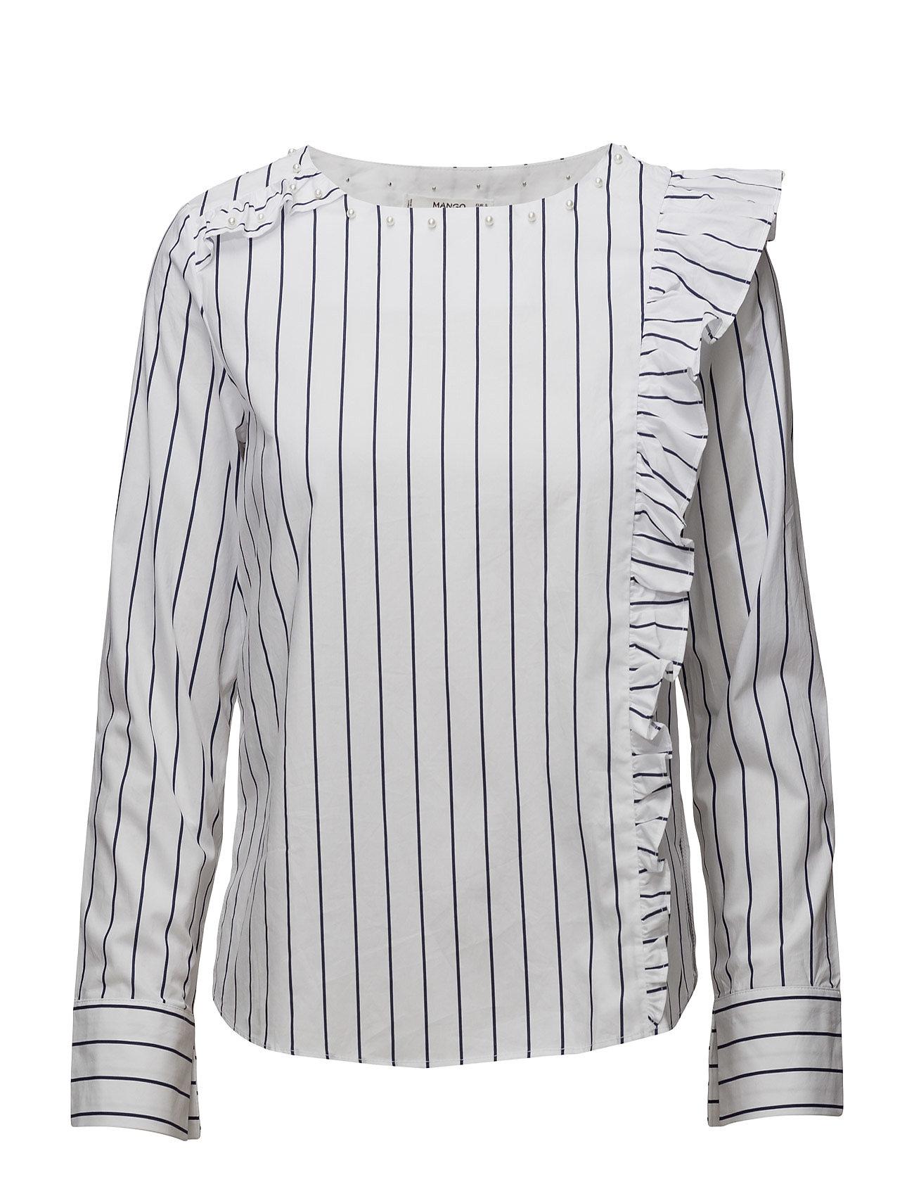 Ruffled Stripe-Patterned Blouse Mango Langærmede til Damer i Natural White
