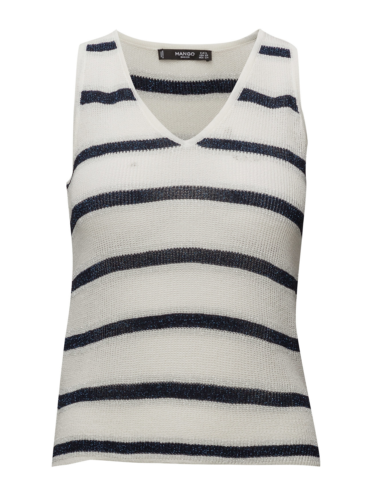 Metallic Striped Top Mango Ærmeløse til Damer i Navy blå