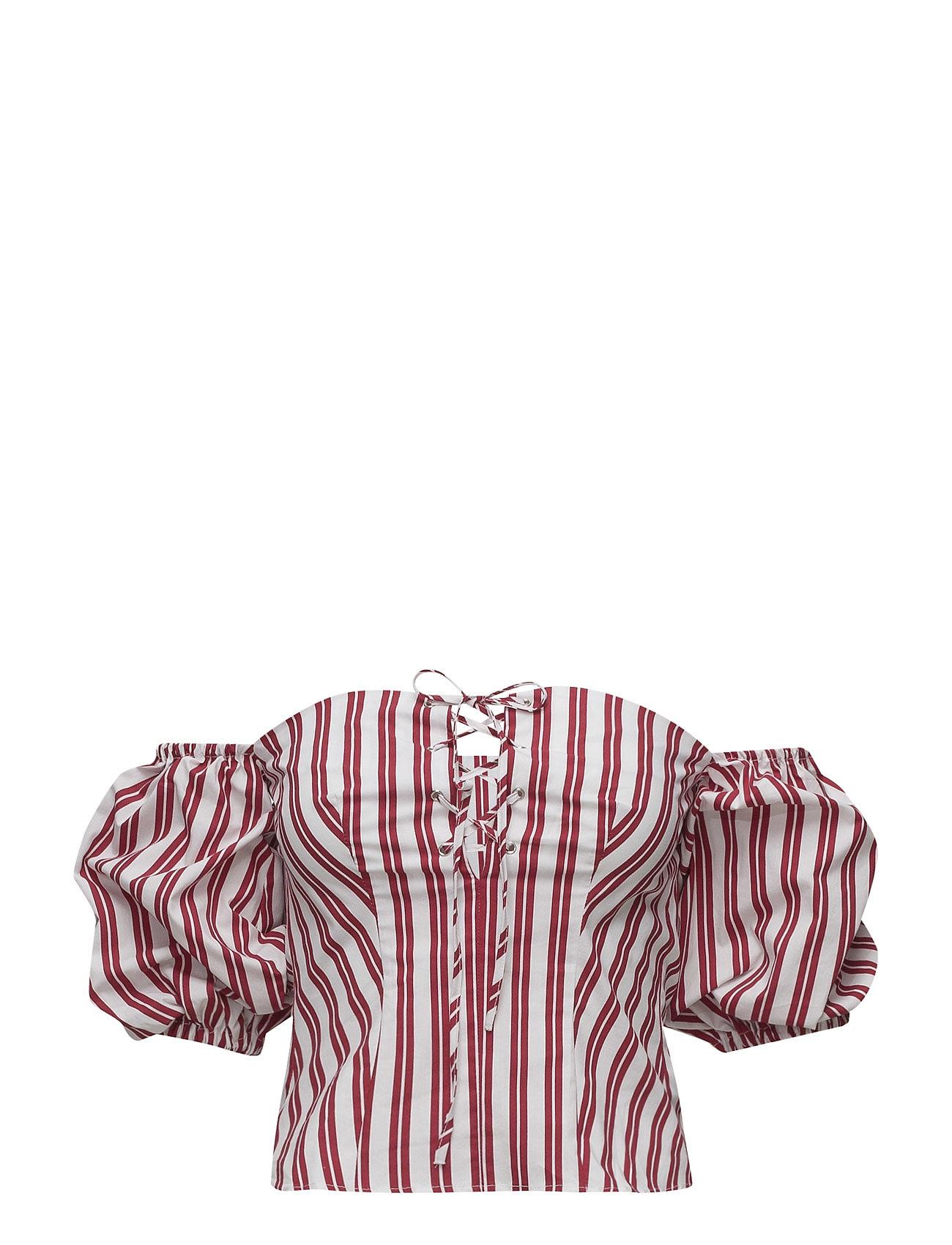 Striped Off-Shoulder Top Mango Kortærmede til Damer i Rød