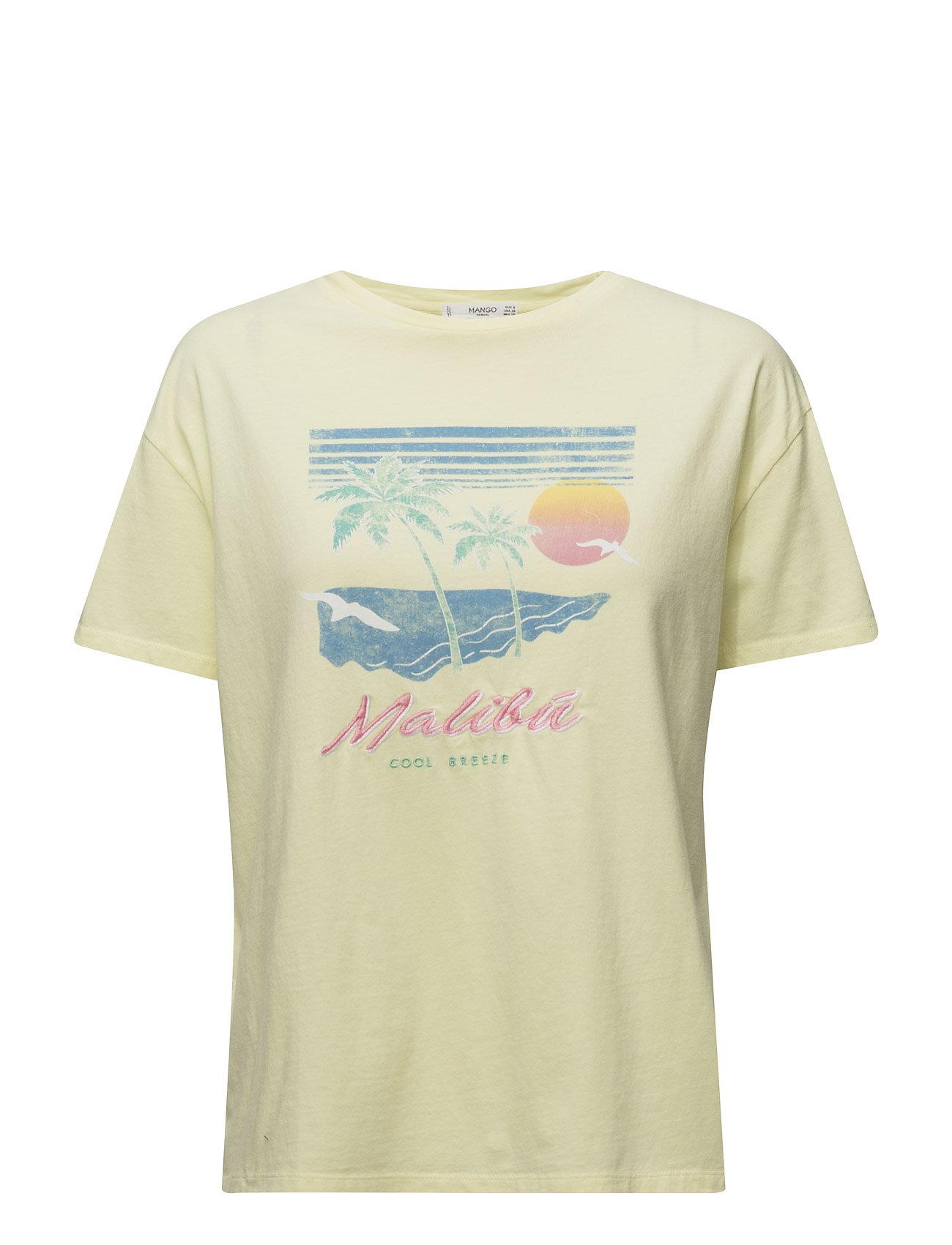 Printed Cotton T-Shirt Mango Kortærmede til Damer i Gul
