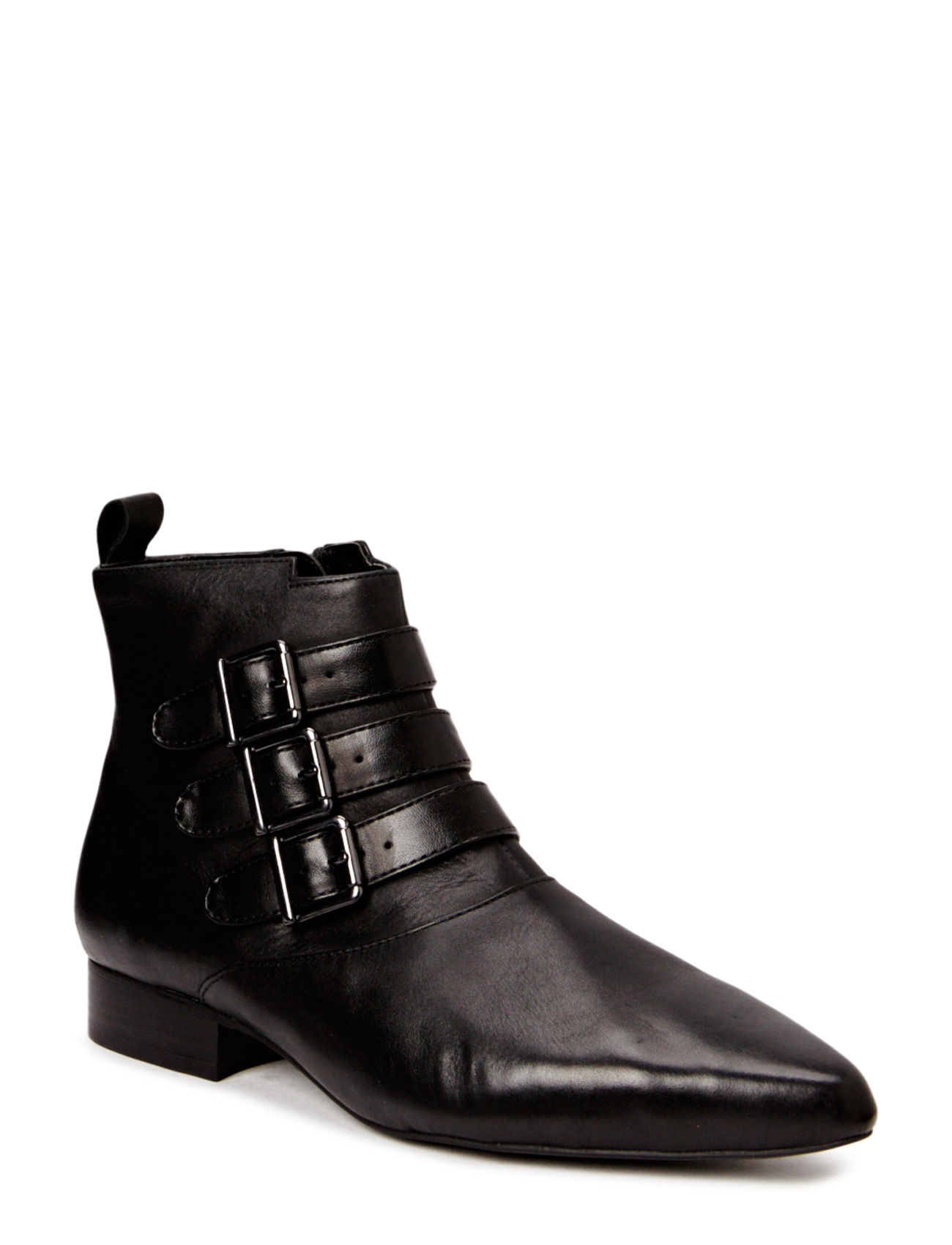 Buckle Leather Ankle Boots