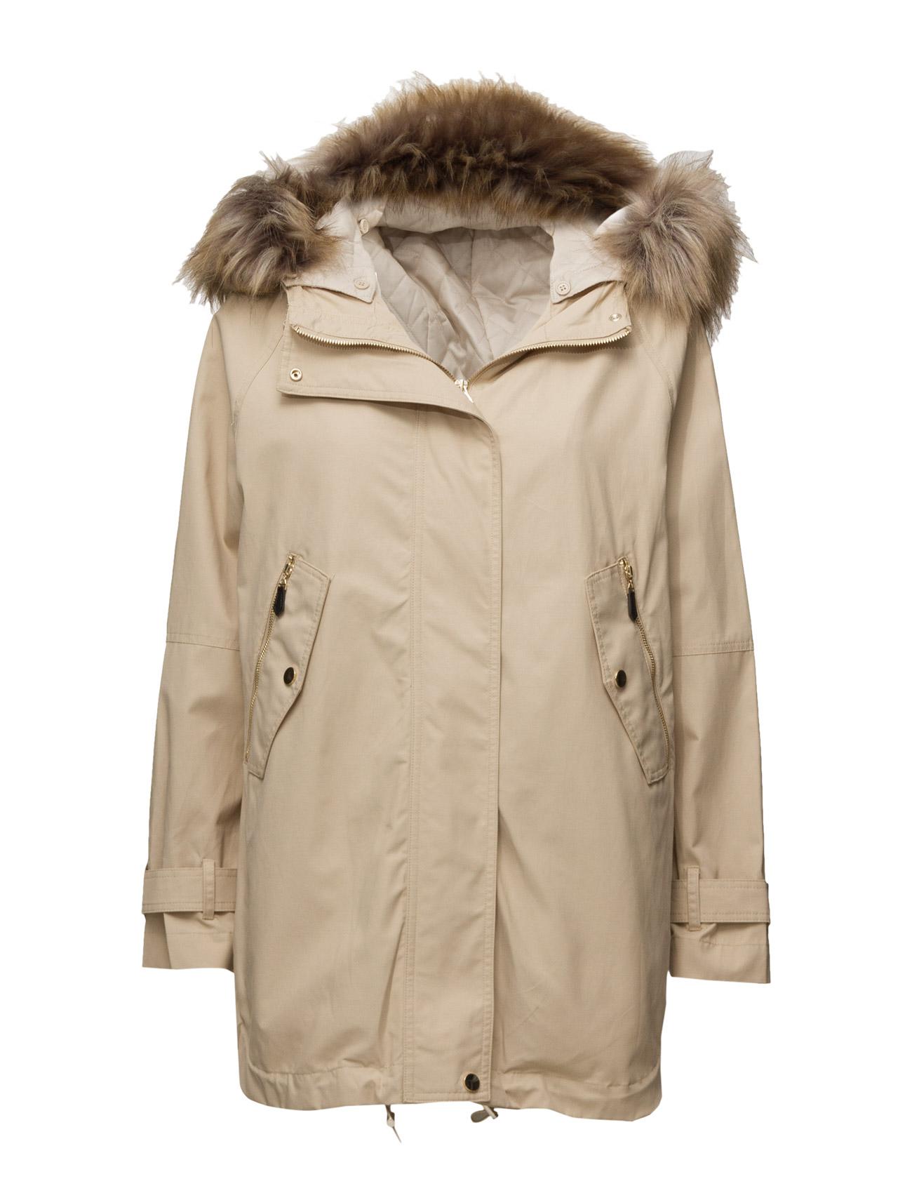 Faux Fur Hood Coat Mango Frakker til Kvinder i Navy blå