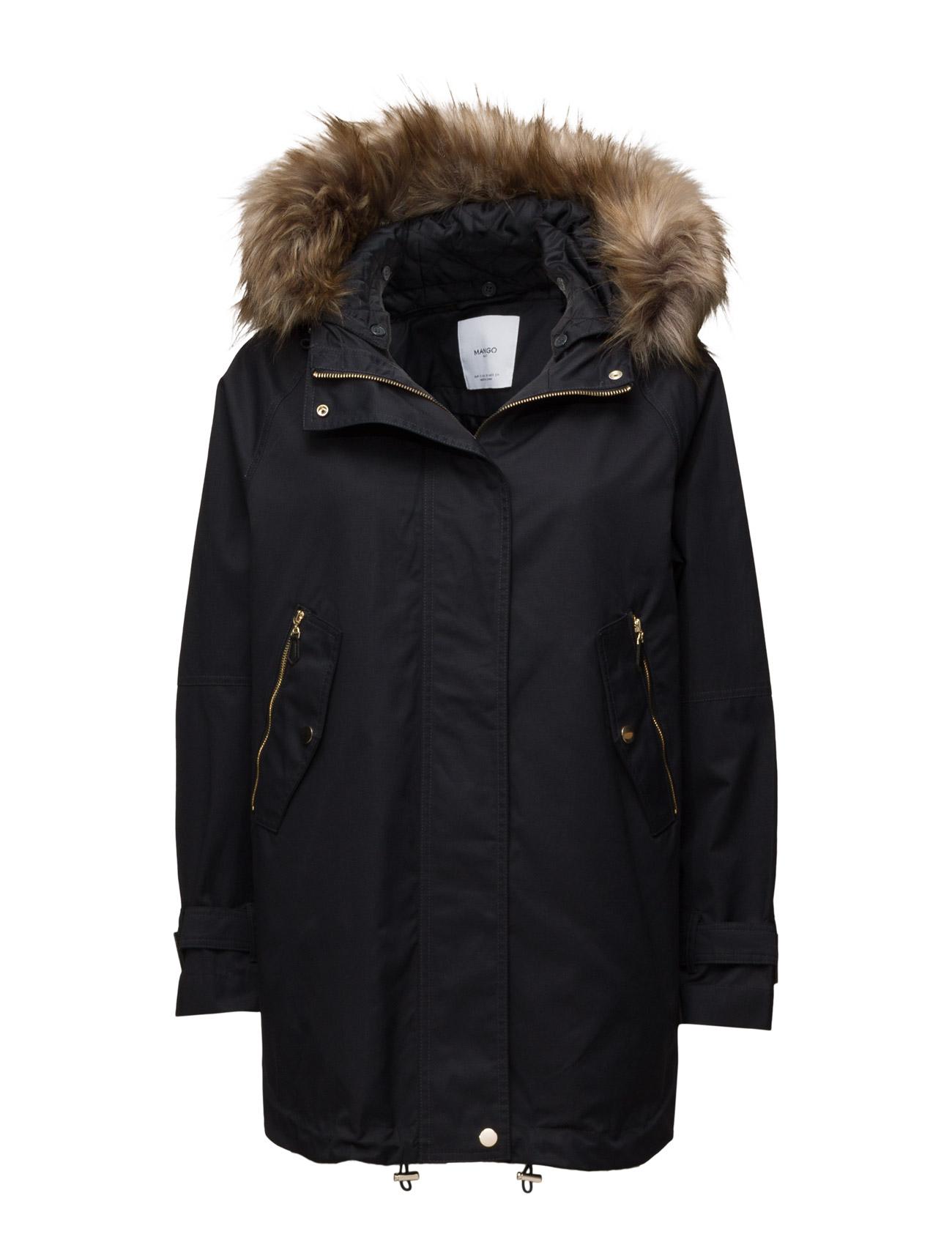 Faux Fur Hood Coat Mango Frakker til Damer i Navy blå