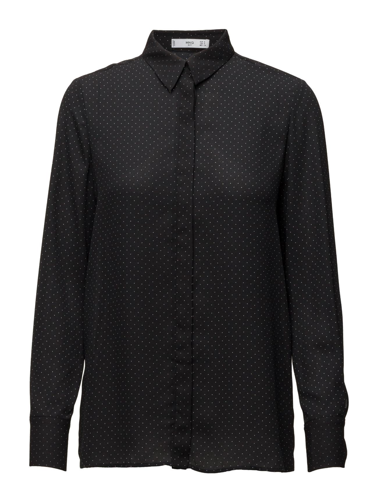 Printed Flowy Shirt Mango Langærmede til Kvinder i Natural White