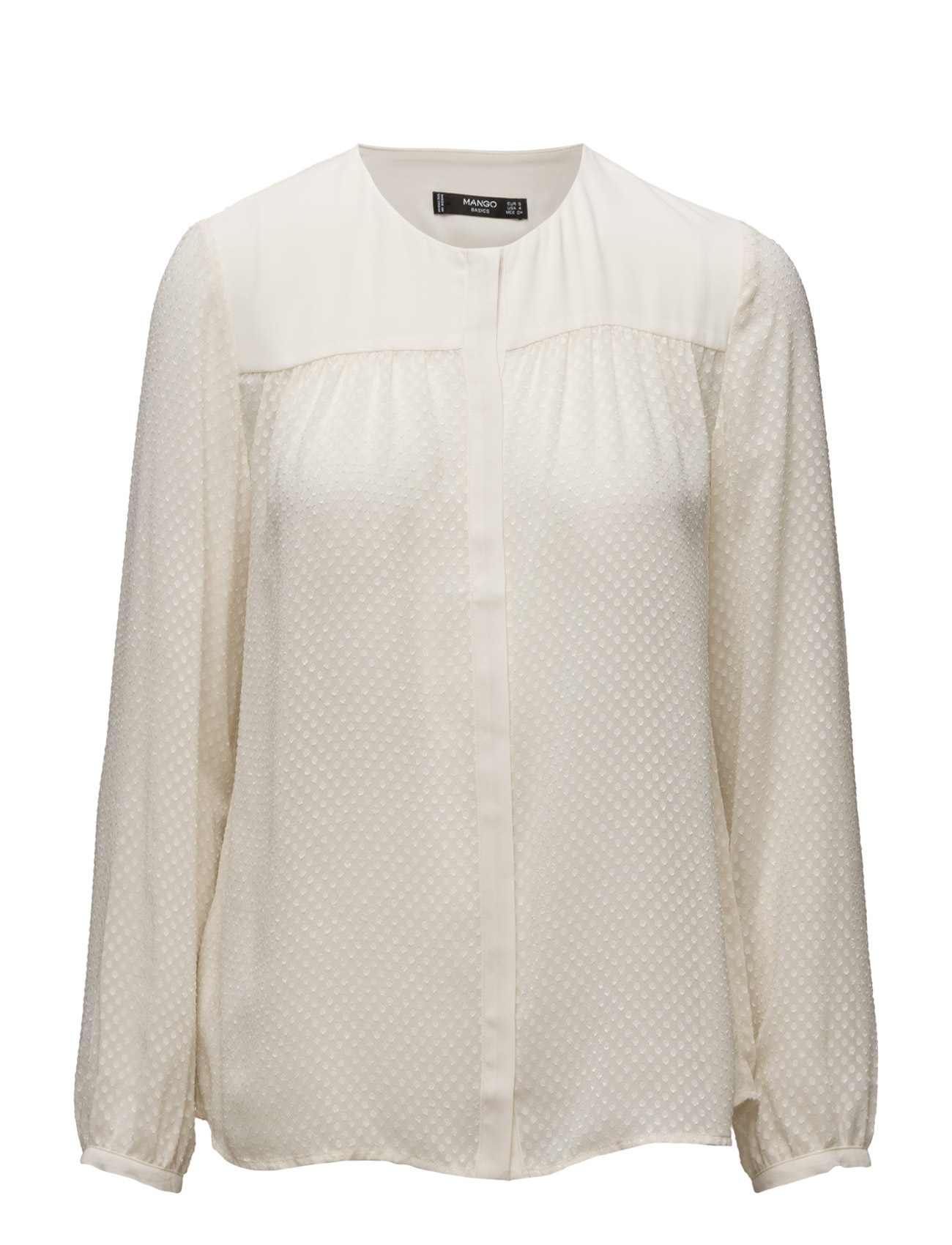 Polka-Dot Textured Blouse Mango Langærmede til Kvinder i Light Beige