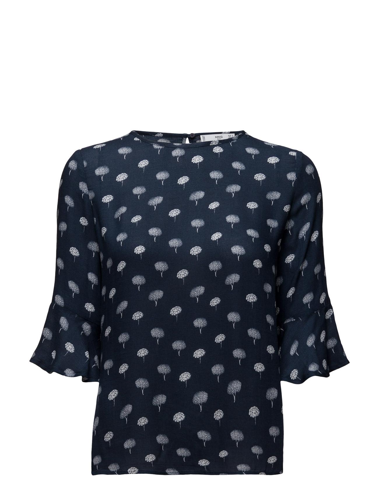 Flowy Printed Blouse Mango Langærmede til Kvinder i Navy blå
