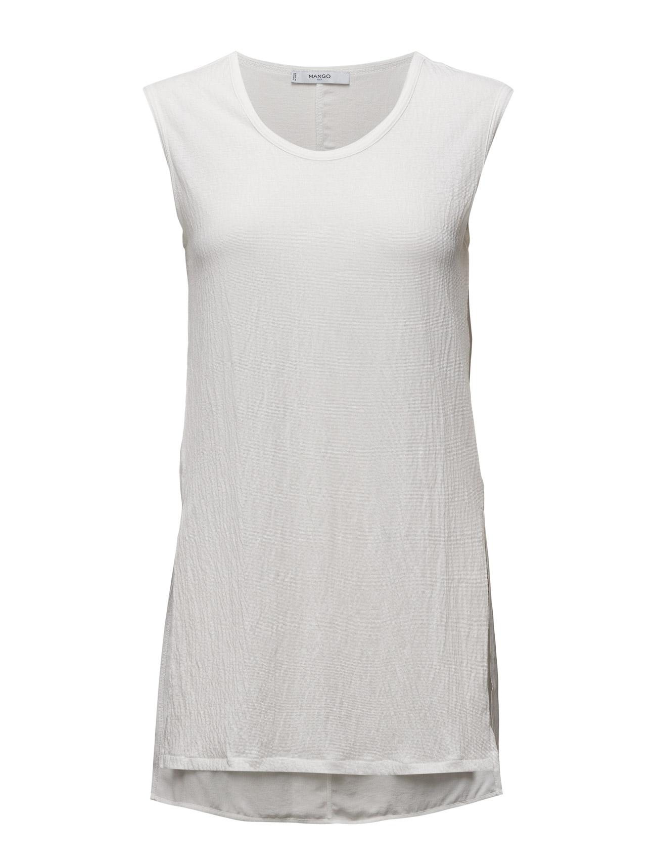 Side Slit T-Shirt Mango ®rmeløse til Kvinder i Natural White