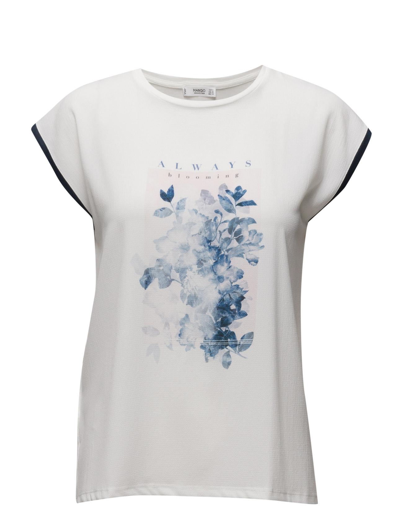 Printed T-Shirt Mango Kortærmede til Kvinder i Medium Blå