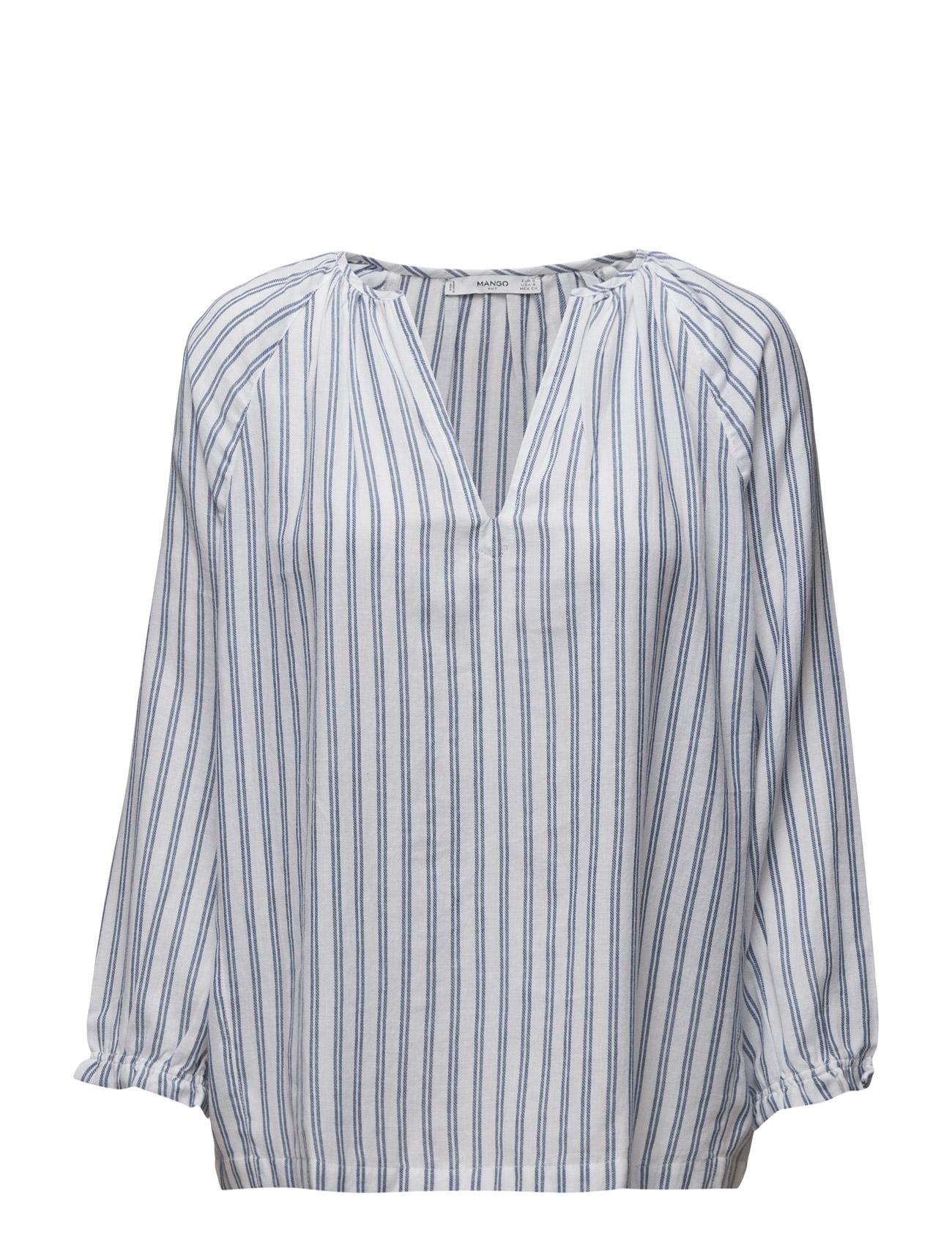 Striped Cotton Blouse Mango Langærmede til Kvinder i Medium Blå