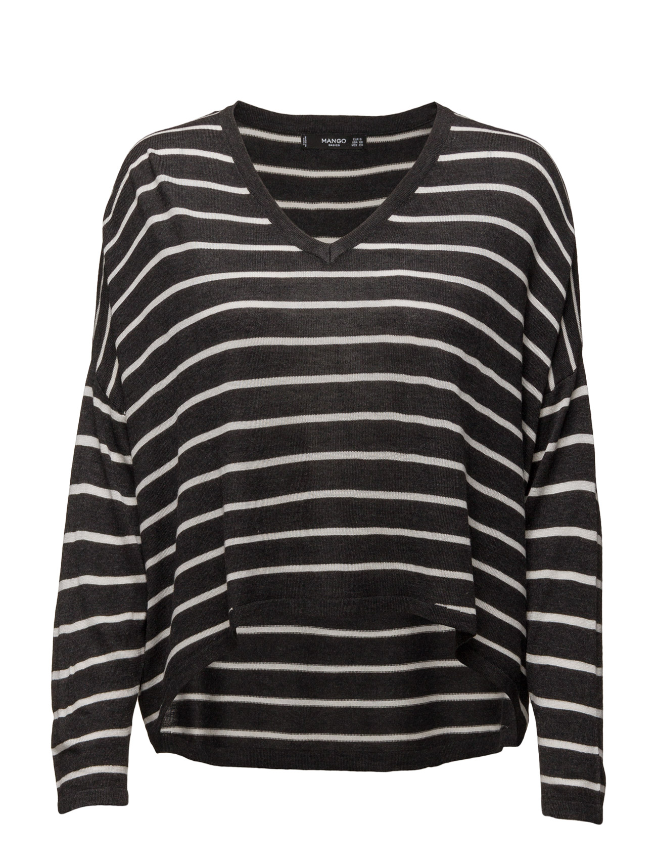 Stripe Pattern Sweater Mango Sweatshirts til Kvinder i Mørkegrå