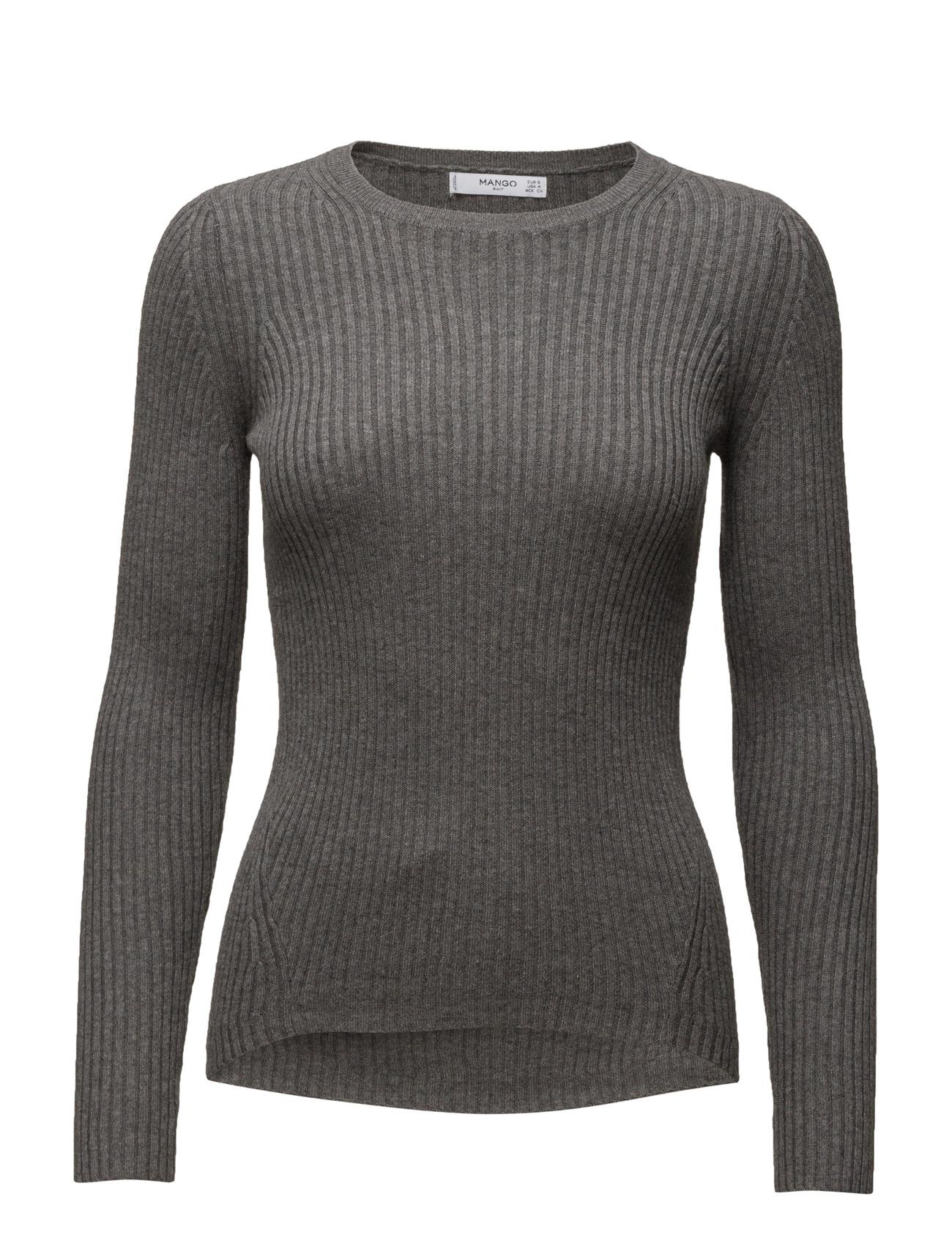 Ribbed Cotton-Blend Sweater Mango Sweatshirts til Kvinder i Mellem grå