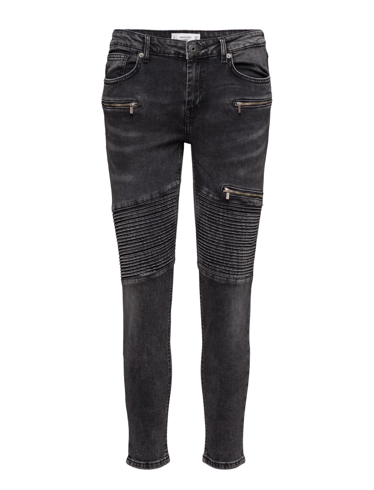 Super Slim-Fit Biker Jeans Mango Skinny til Kvinder i Open Grey