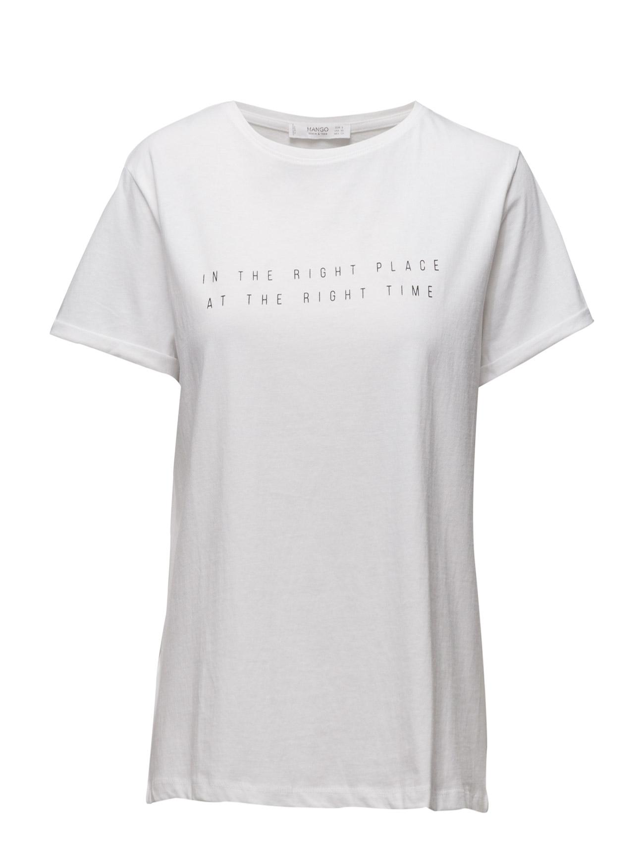 Message Cotton T-Shirt Mango Kortærmede til Kvinder i hvid