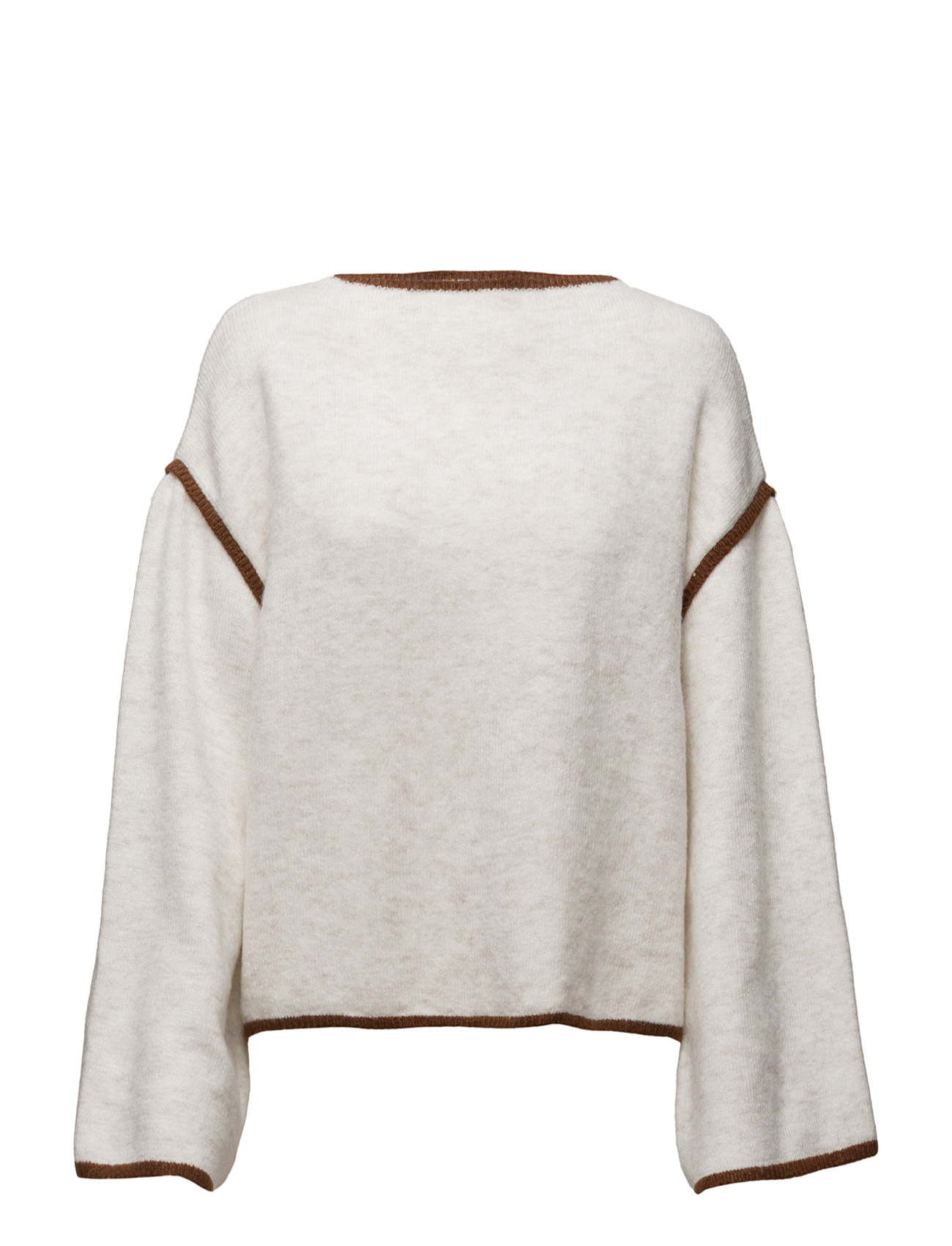 Contrast Trim Sweater Mango Sweatshirts til Kvinder i Light Beige