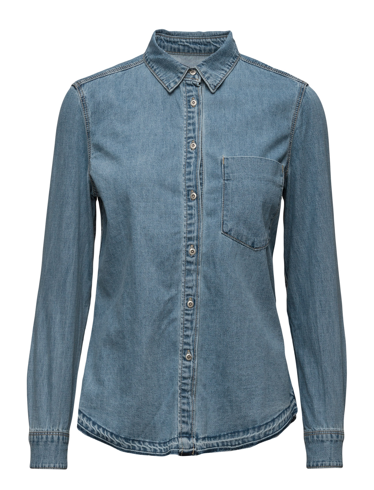 Denim Shirt Mango Langærmede til Kvinder i Open Blå