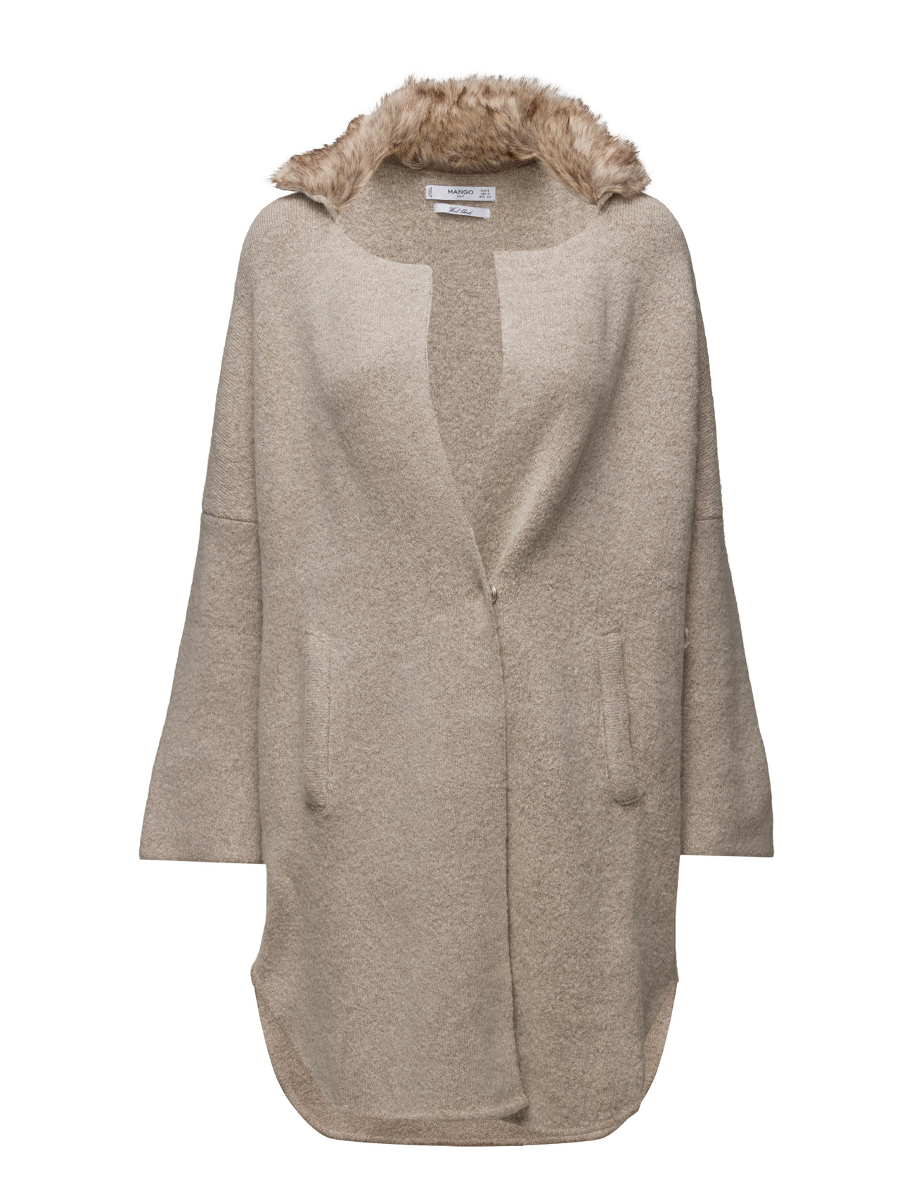 Faux-Fur Pockets Cardigan Mango Cardigans til Kvinder i Light Beige